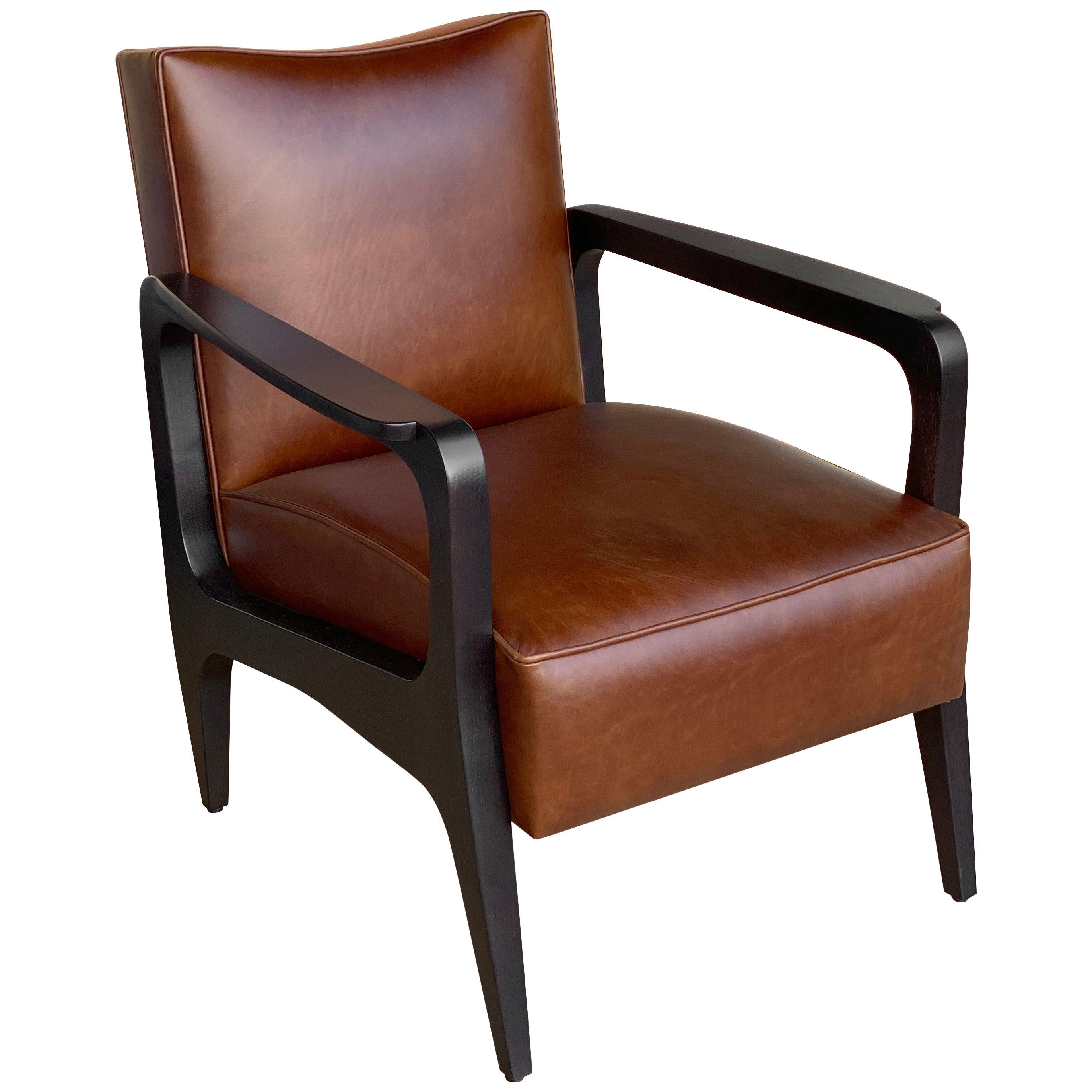 Art Deco Inspired Atena Armchair in Walnut Black Ebony and Moka Bull Leather