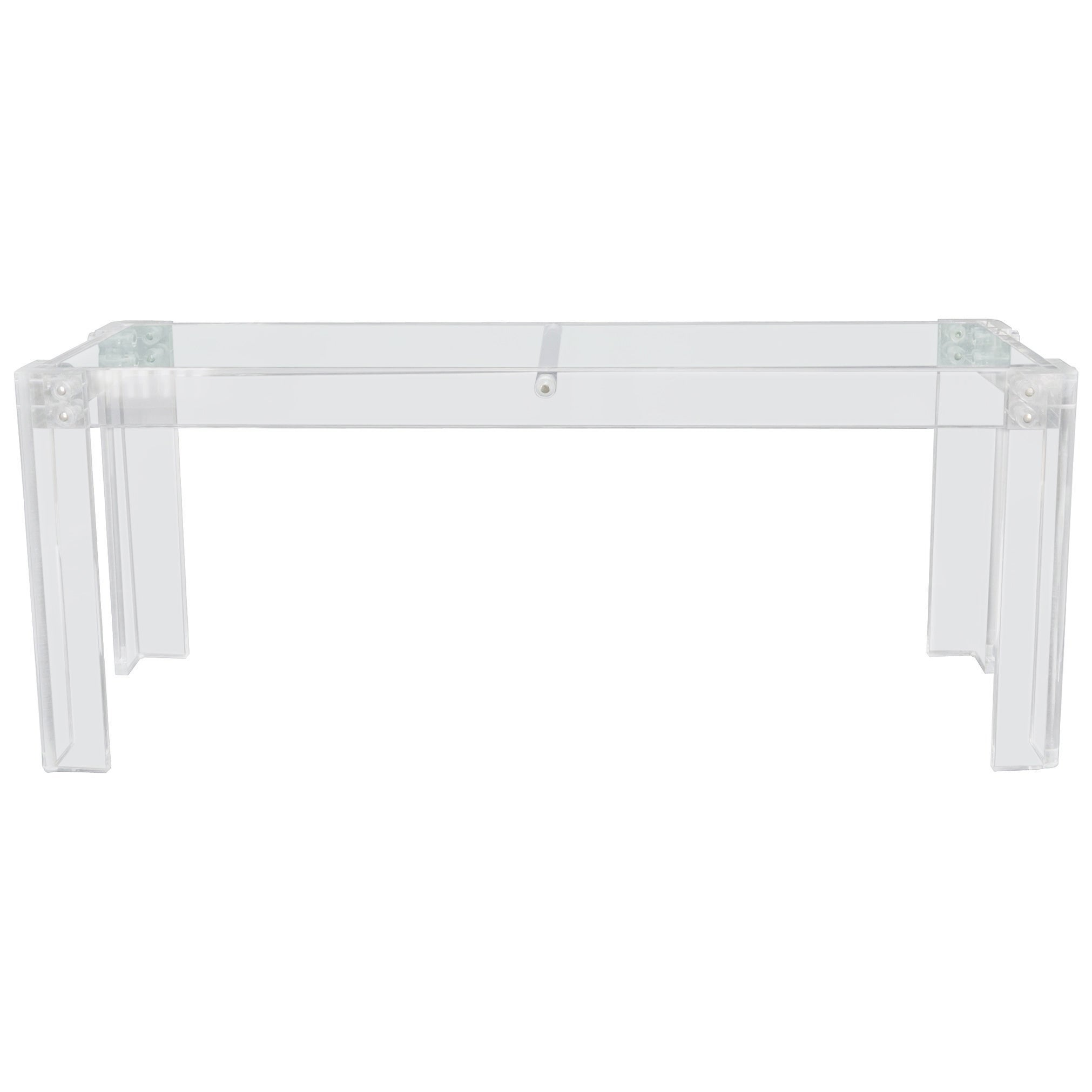 Large Long Lucite Base Glass Top Console Sofa Table