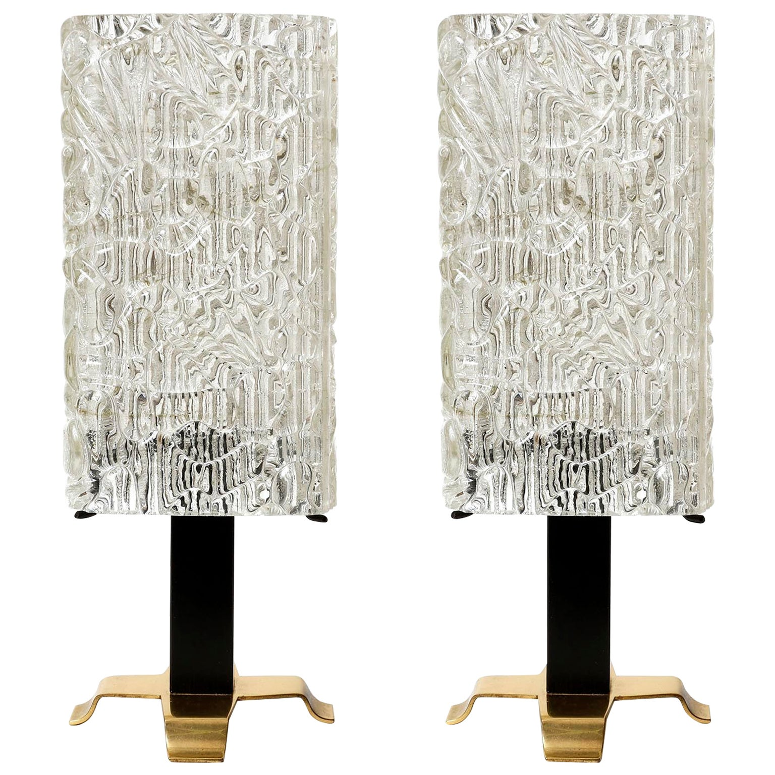 Pair of Kalmar Table Lamps, Brass Glass, 1950s