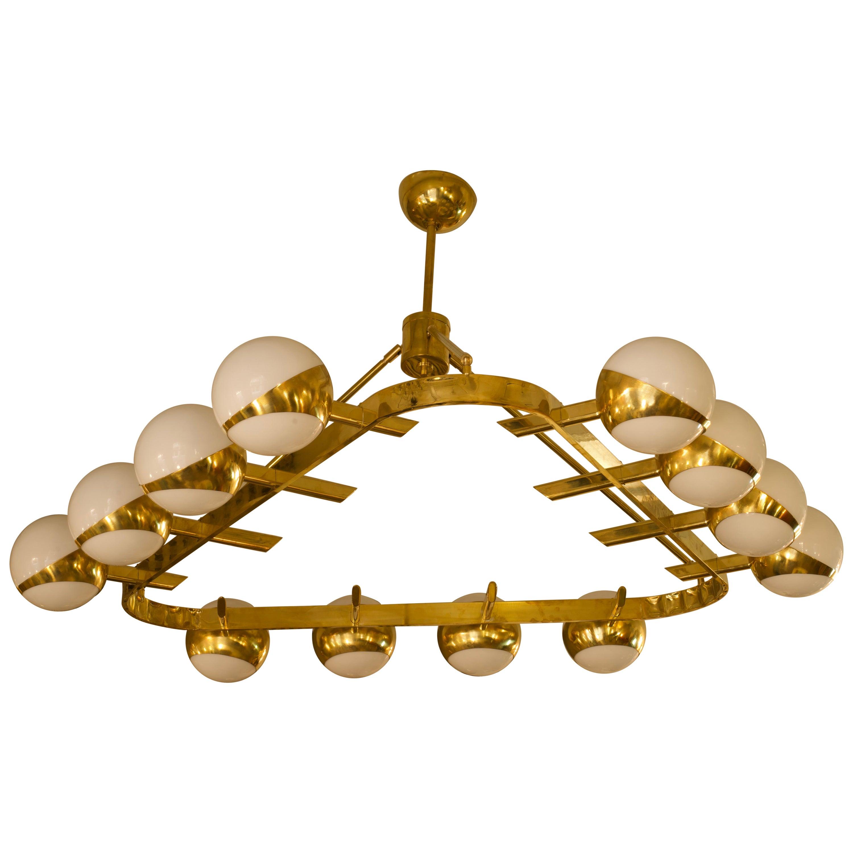 Murano Triangular Brass and Glass Midcentury Chandelier, 1970