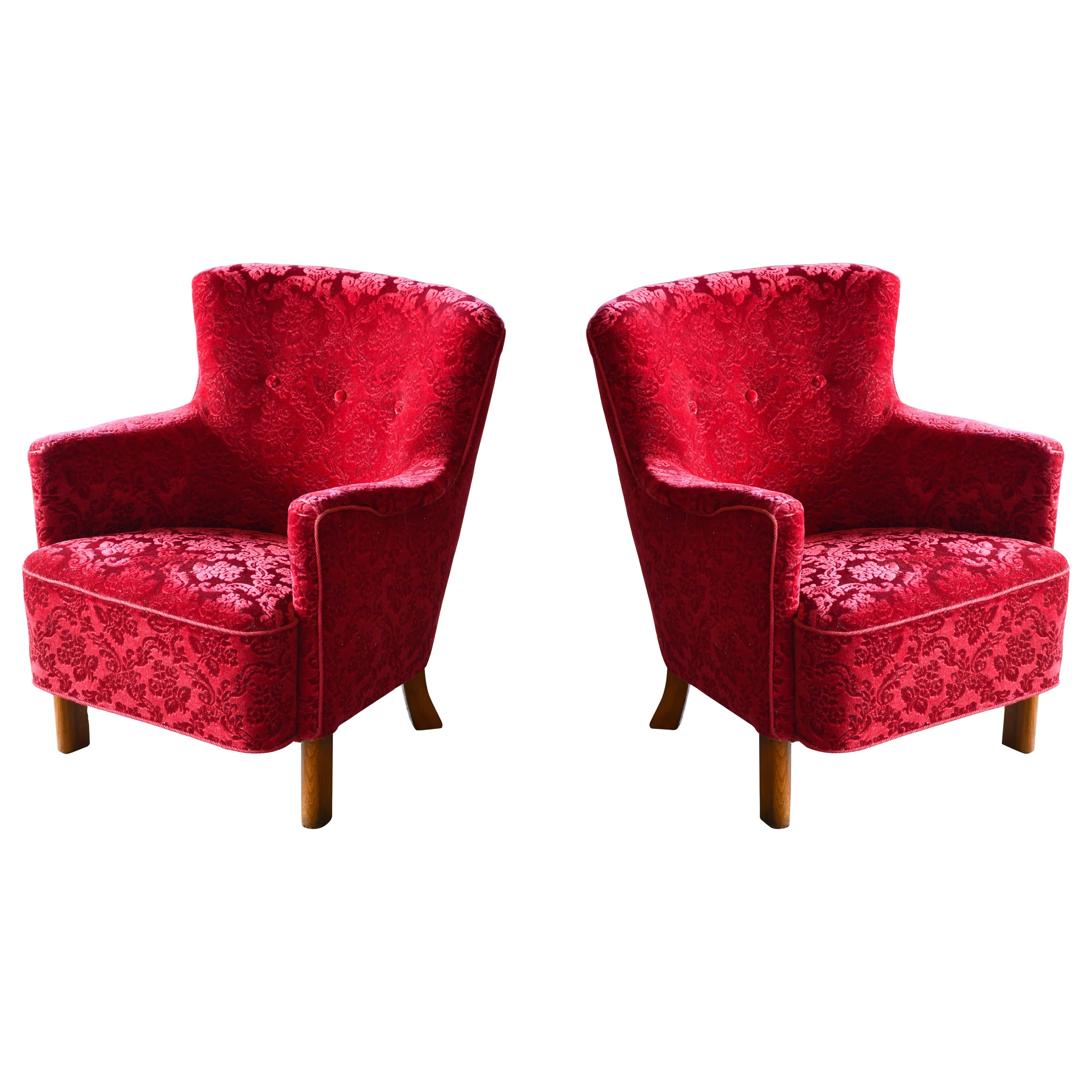 Danish 1940s Fritz Hansen Style Small Scale Lounge Chairs in Red Mohair