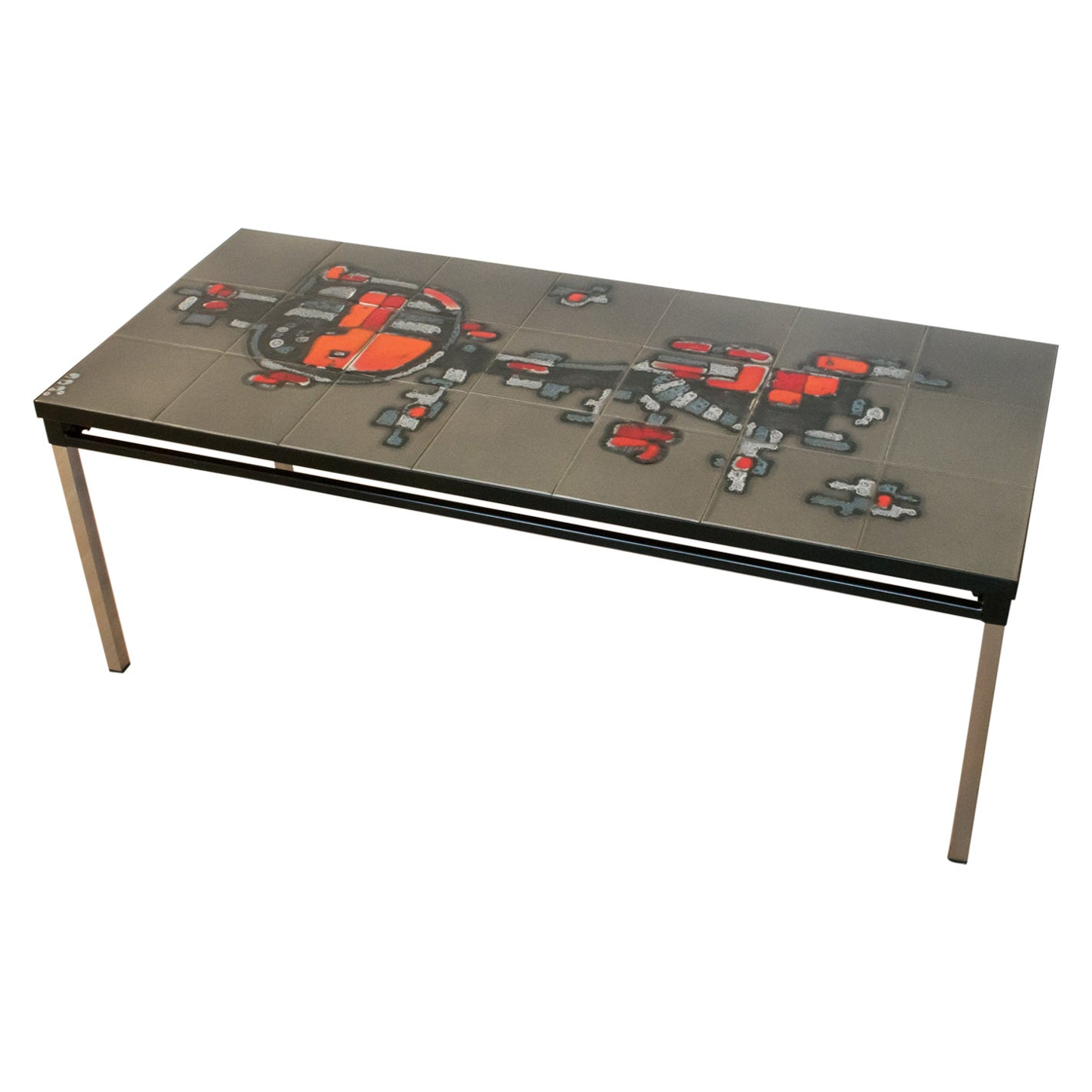1960s Arti for Belarti Chrome and Ceramic Tile Side or Coffee Table