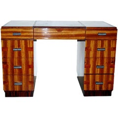 Striking French Parquetry Double Pedestal Desk