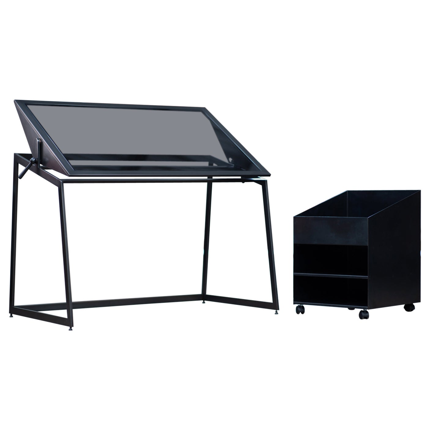Drafting Table and Caddy in Blackened Steel and Smoked Glass by Force/Collide
