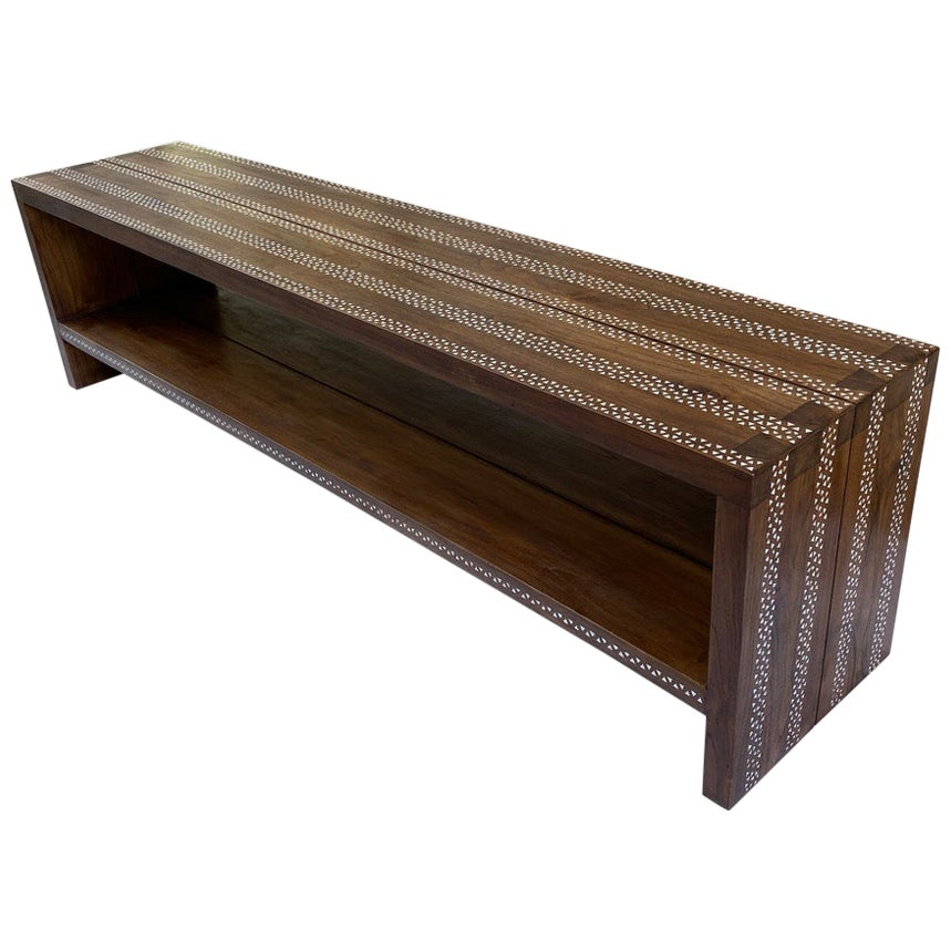 Andrianna Shamaris Shell Inlaid Teak Wood Console Table