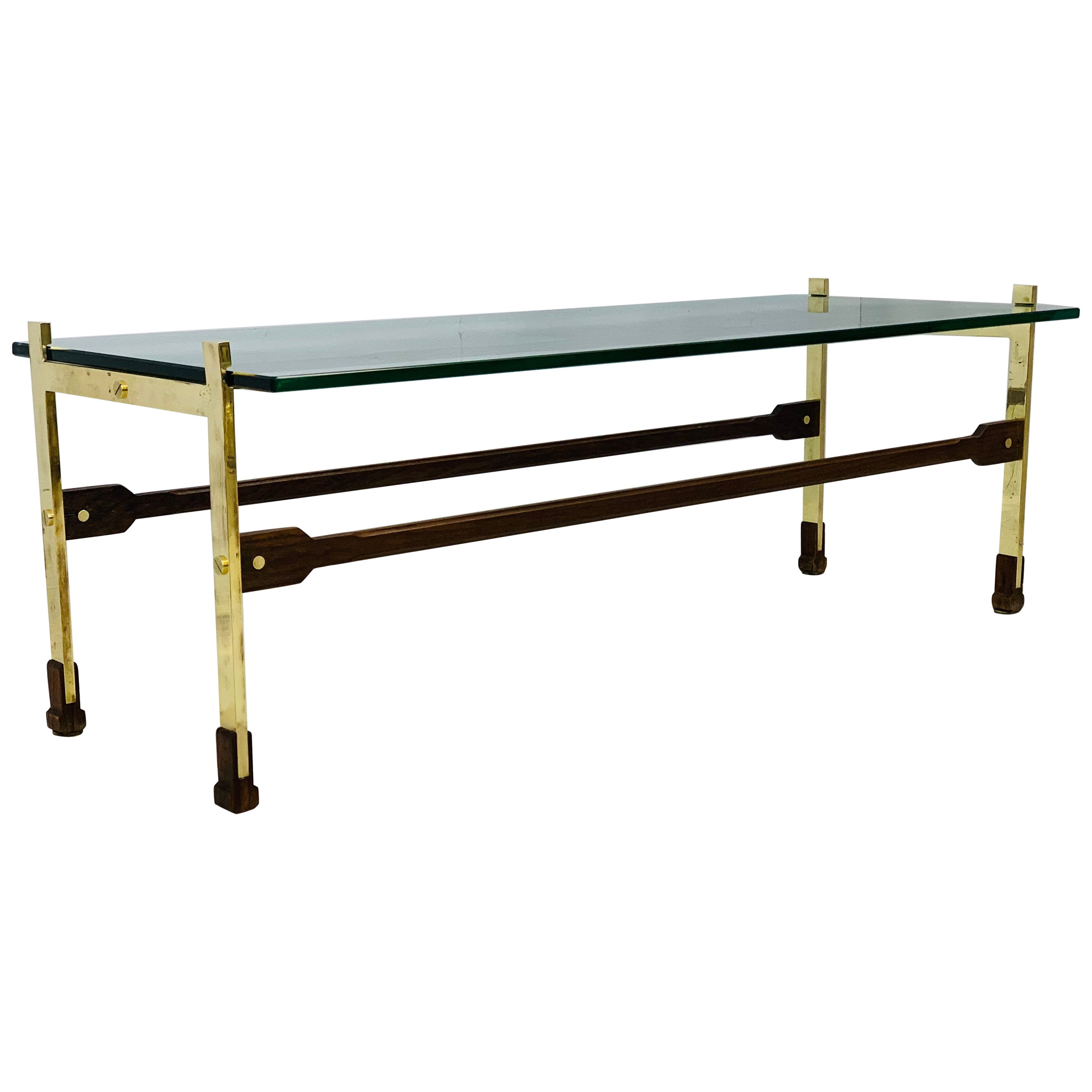 Brass Coffee Table with Glass Top