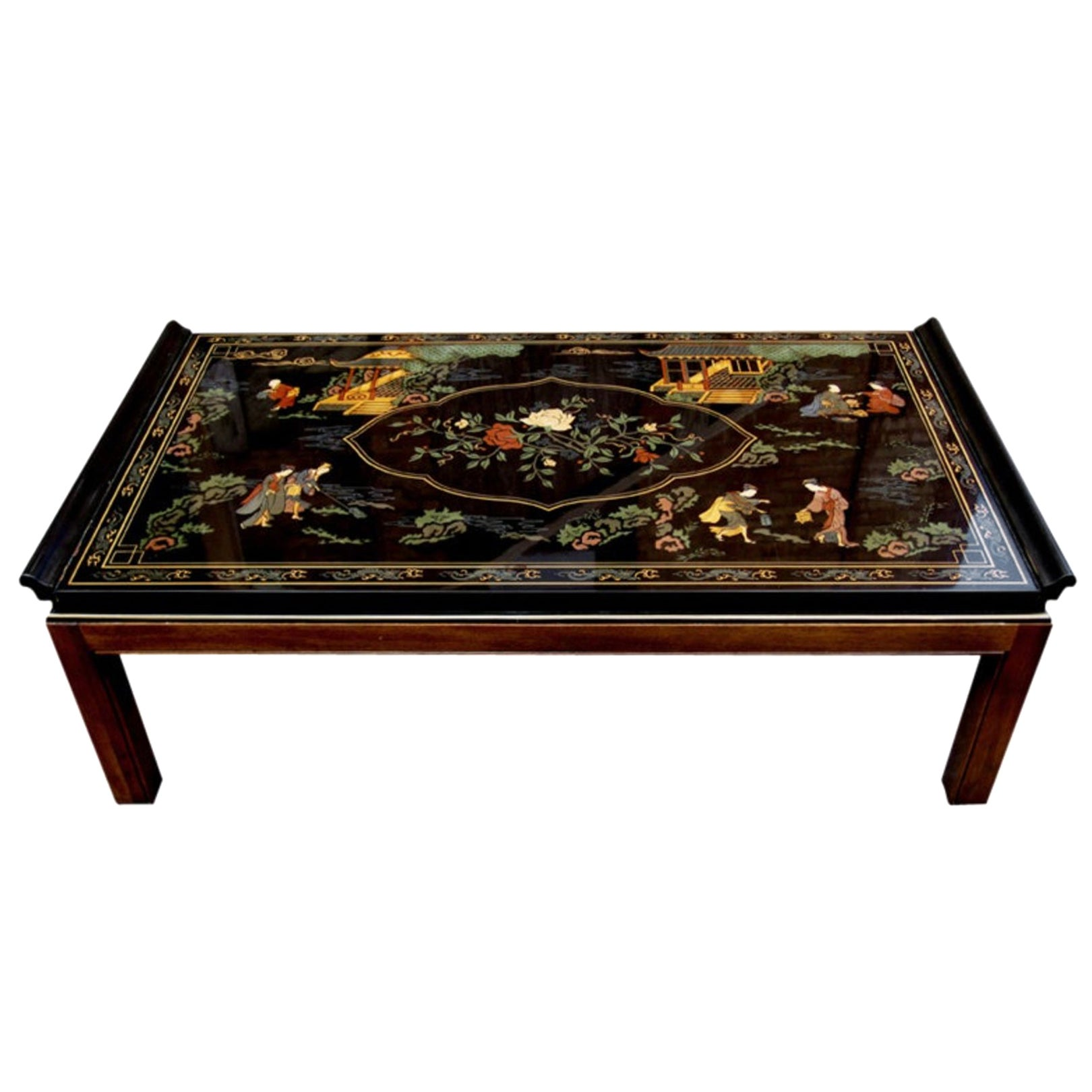 Black Lacquered Coffee Table Drexel Heritage Mahogany Legs