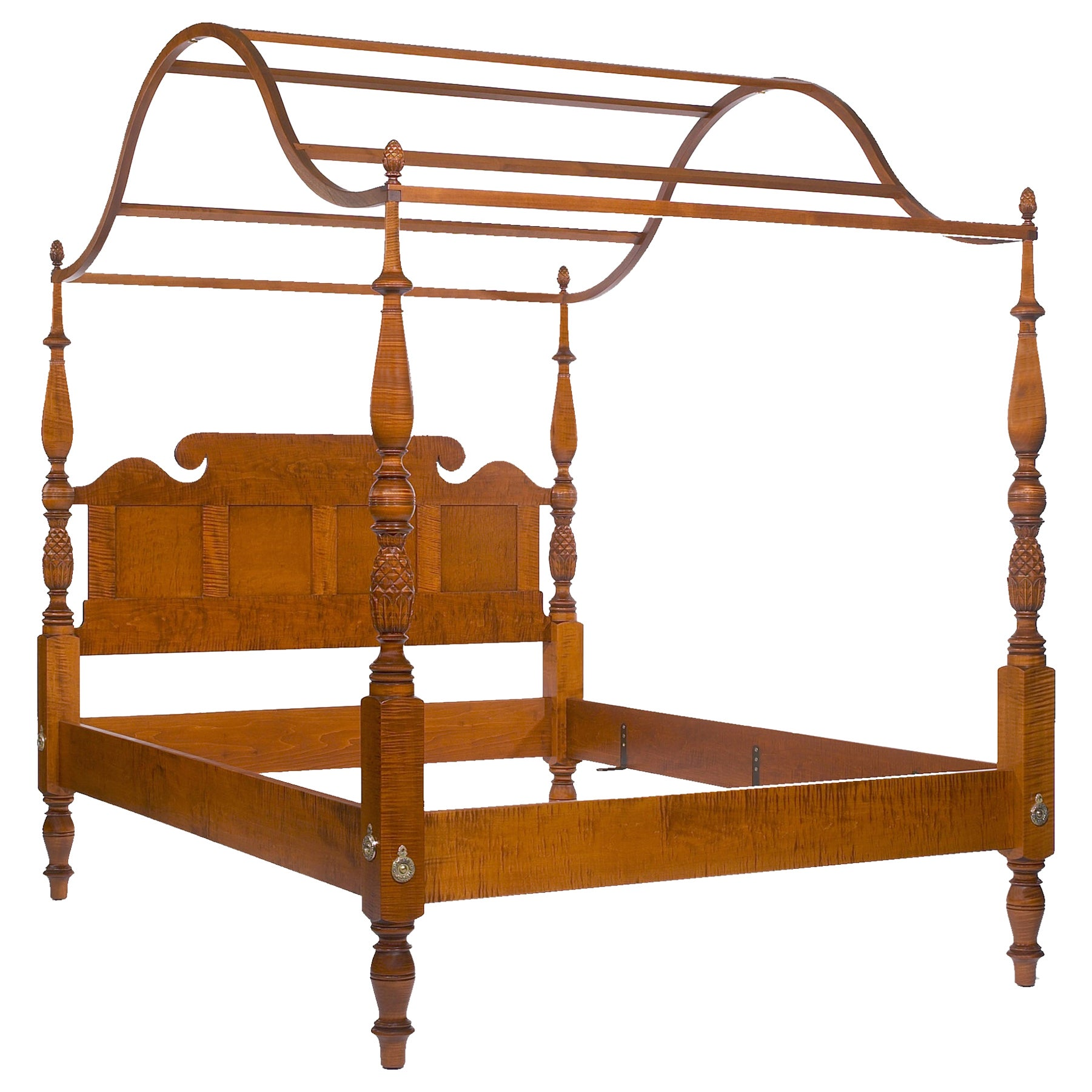 Traditional Stained Tiger Maple Carved Four Poster Bed with a Paneled Headboard