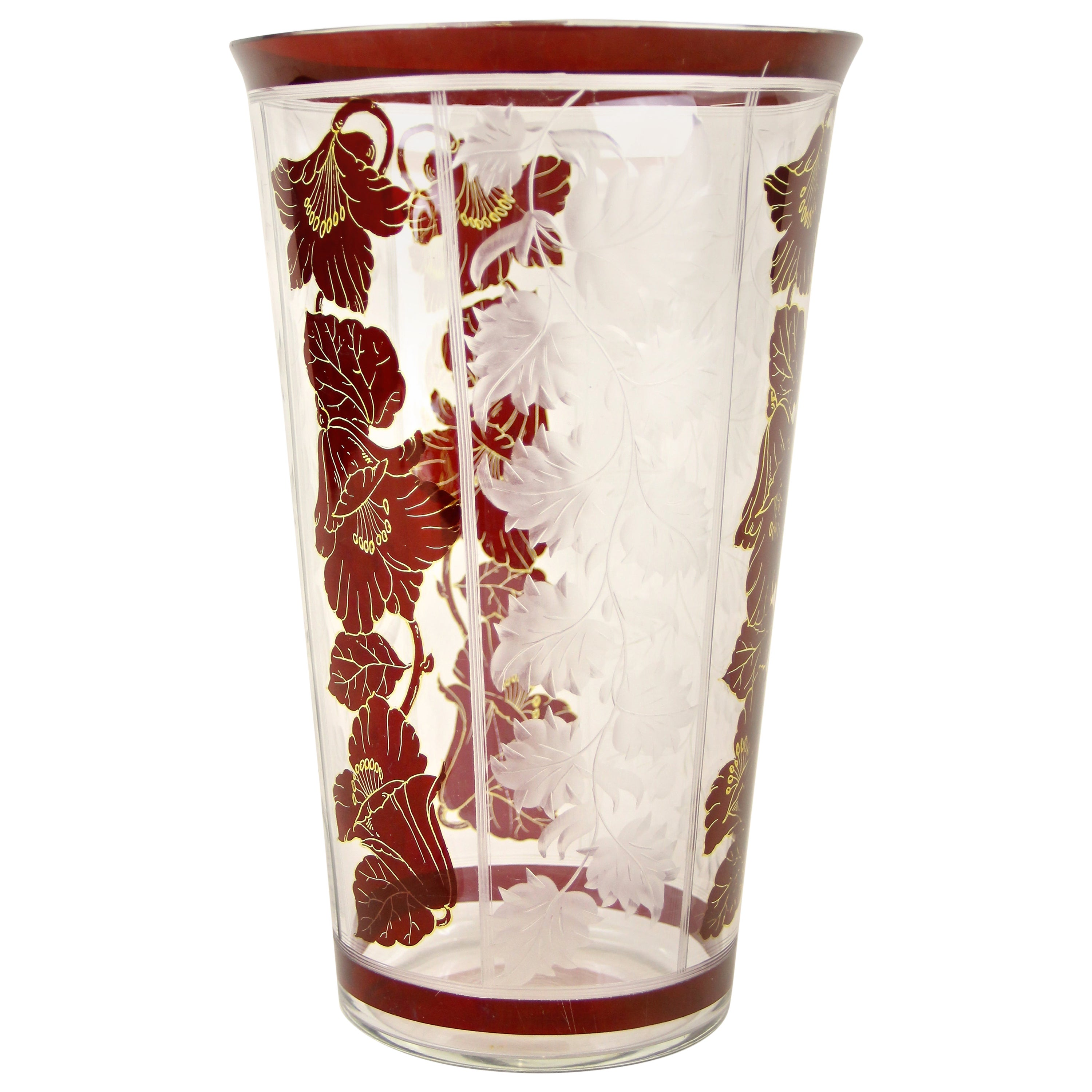 Art Nouveau Glass Vase with Flowers and Engraved Leaves, Austria, circa 1900