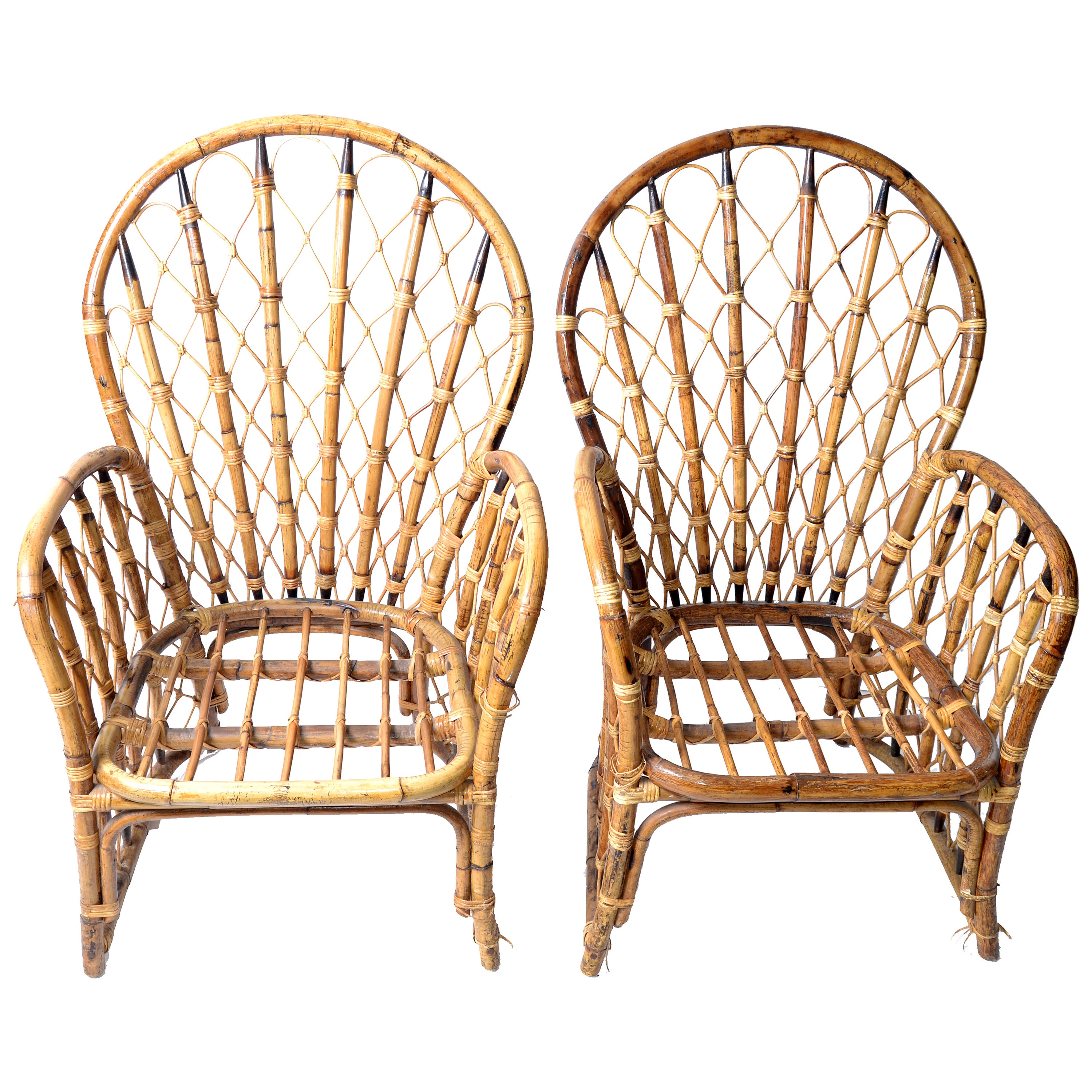 1970s Rattan, Wicker and Bamboo Dining Armchairs, Pair