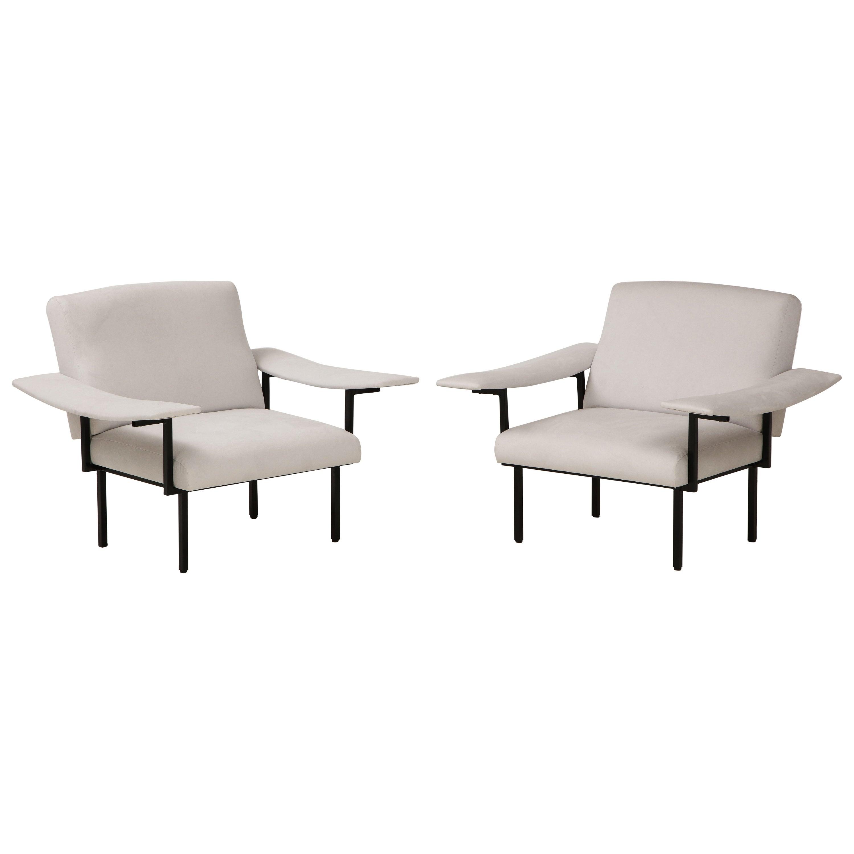 Pair of Italian Modern Iron Upholstered Armchairs