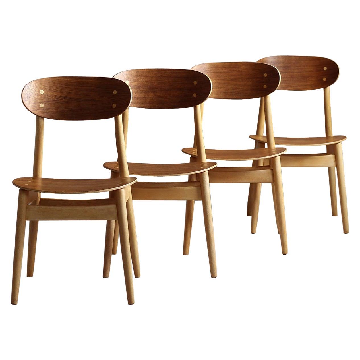 Set of 4 Dining Chairs by Sven Erik Fryklund for Hagafors, Sweden, 1960s