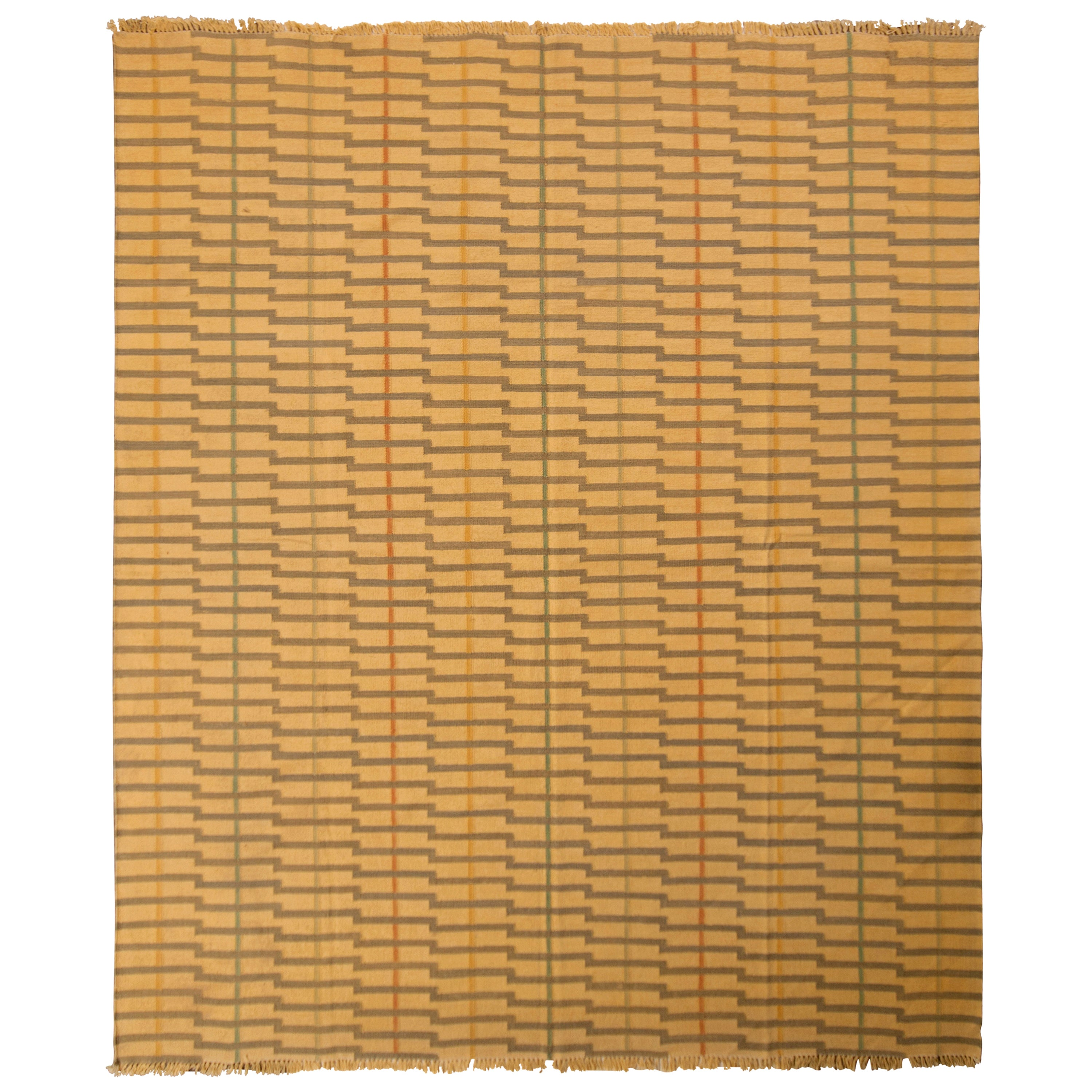 Contemporary Striped Flat-Weave Beige Brown Pattern by Rug & Kilim