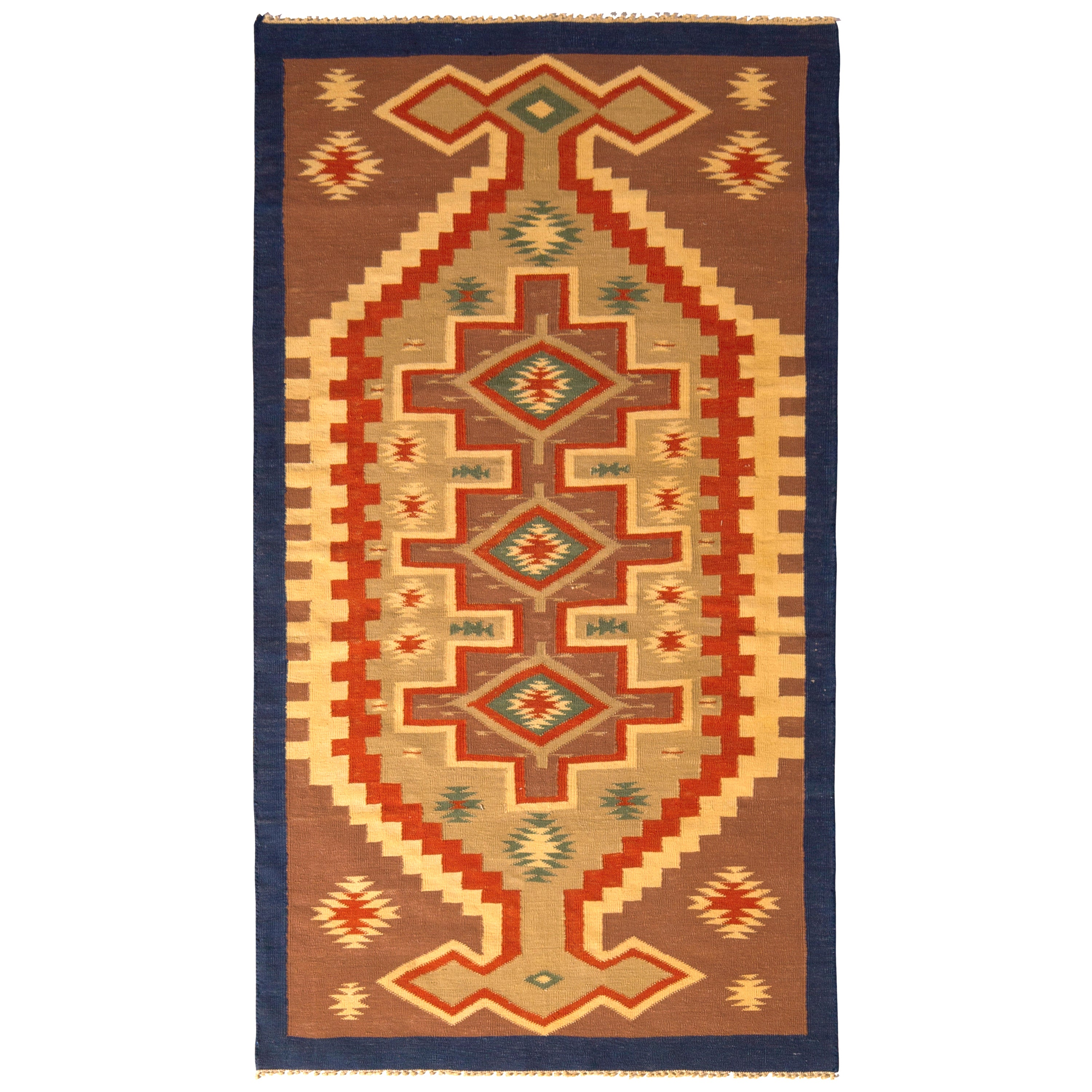 Contemporary Dhurrie Flat-Weave Rug, Beige Brown and Red Geometric Pattern