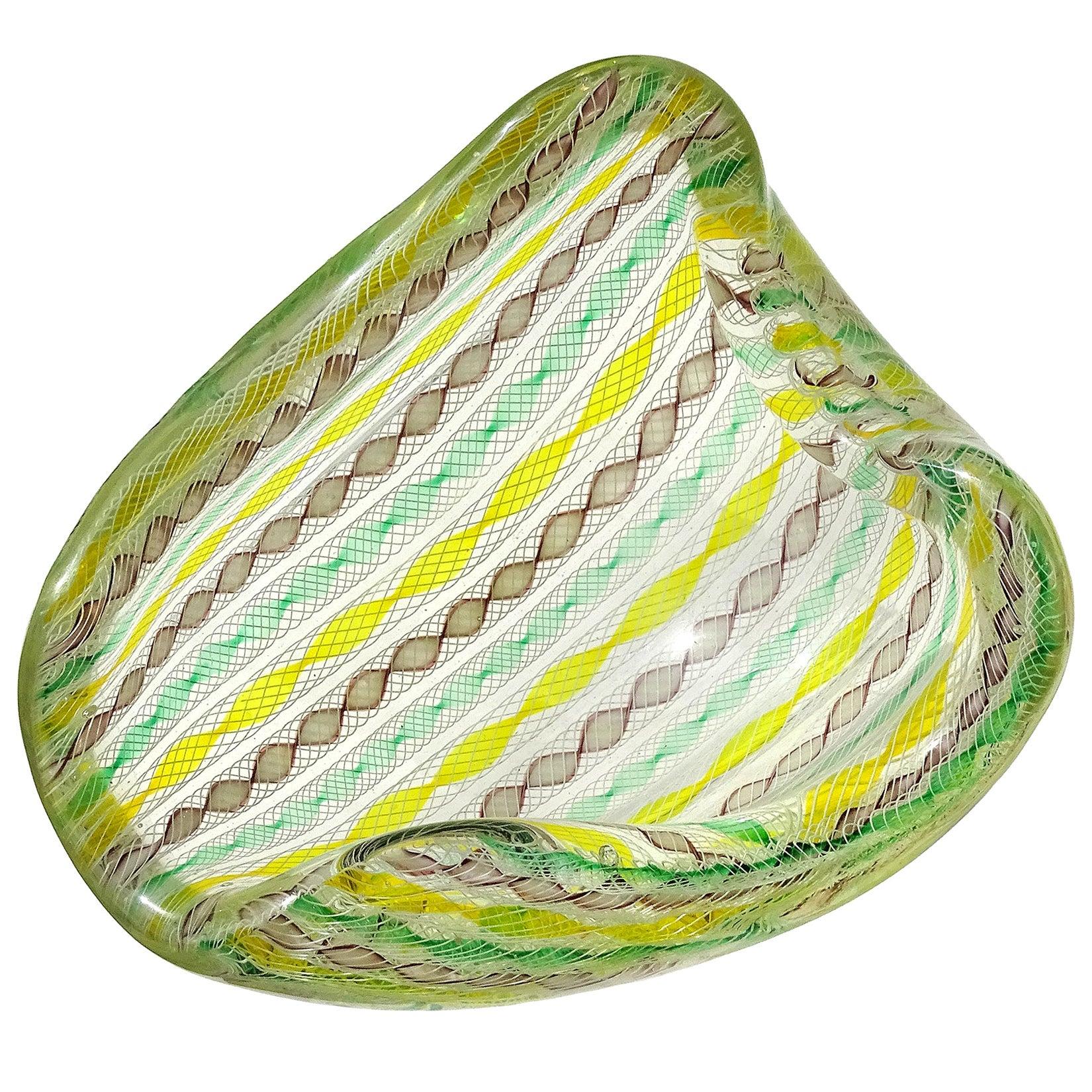 Seguso Murano Yellow Green Purple White Twisting Ribbons Italian Art Glass Bowl