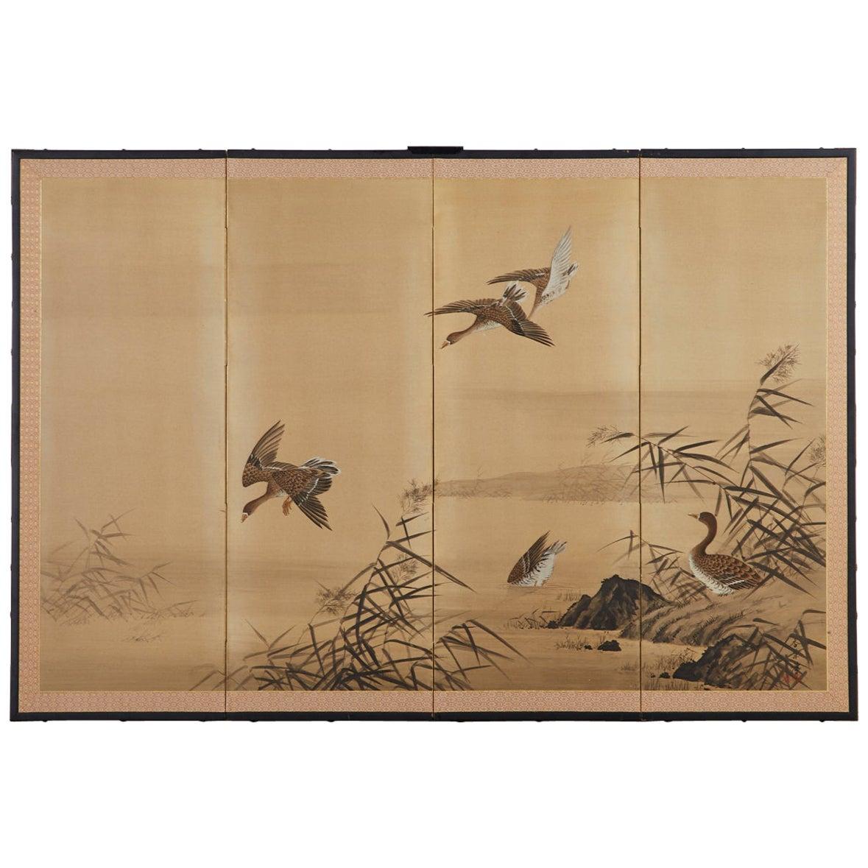 Japanese Four Panel Showa Screen of Wild Ducks