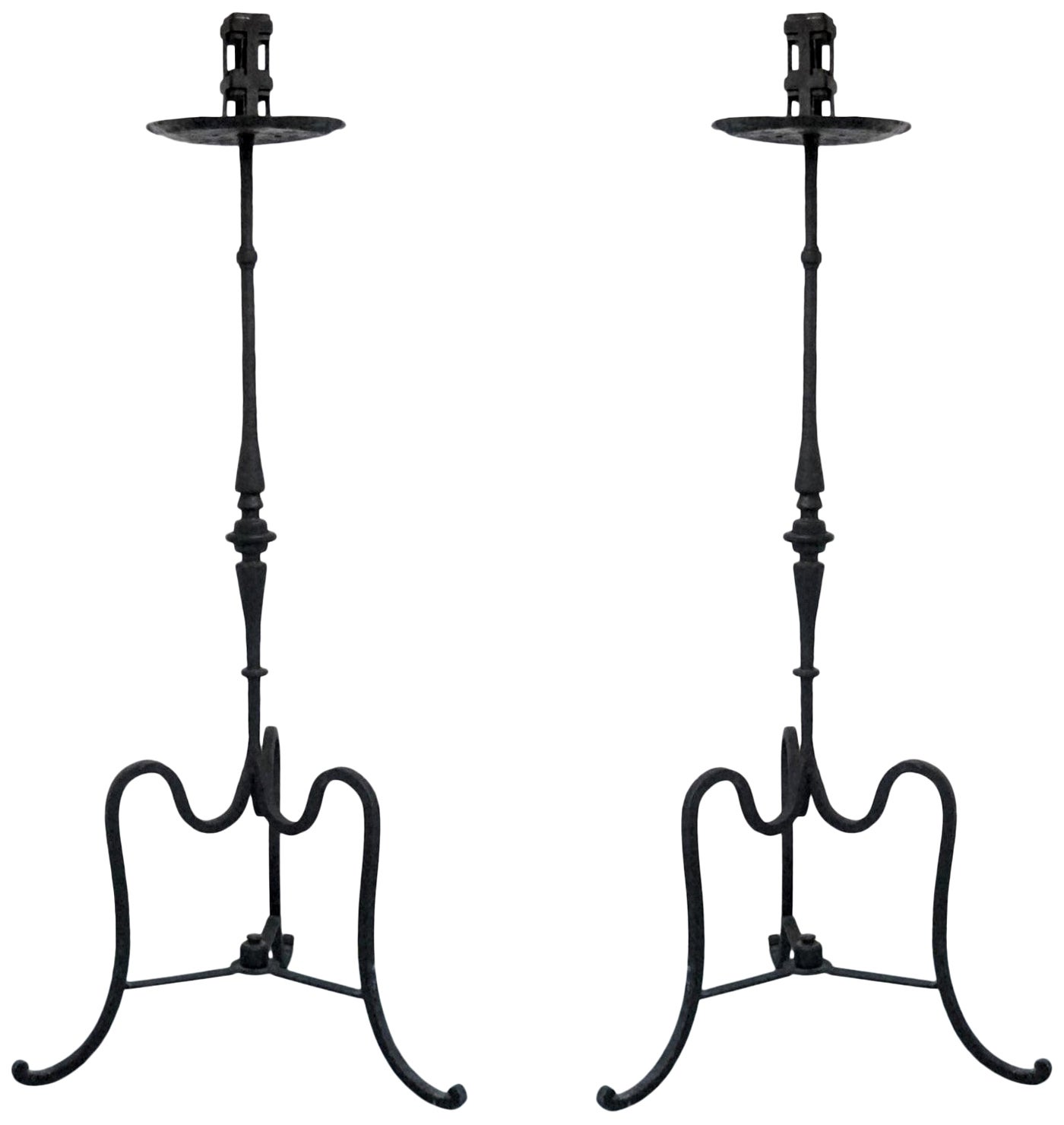 Early 19th Century Pair of Italian Wrought Iron Church Torchères, Candleholders