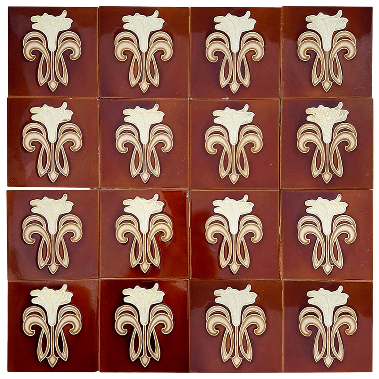 30 Art Jugendstil Ceramic Tiles by Gilliot Fabrieken Te Hemiksem, circa 1920