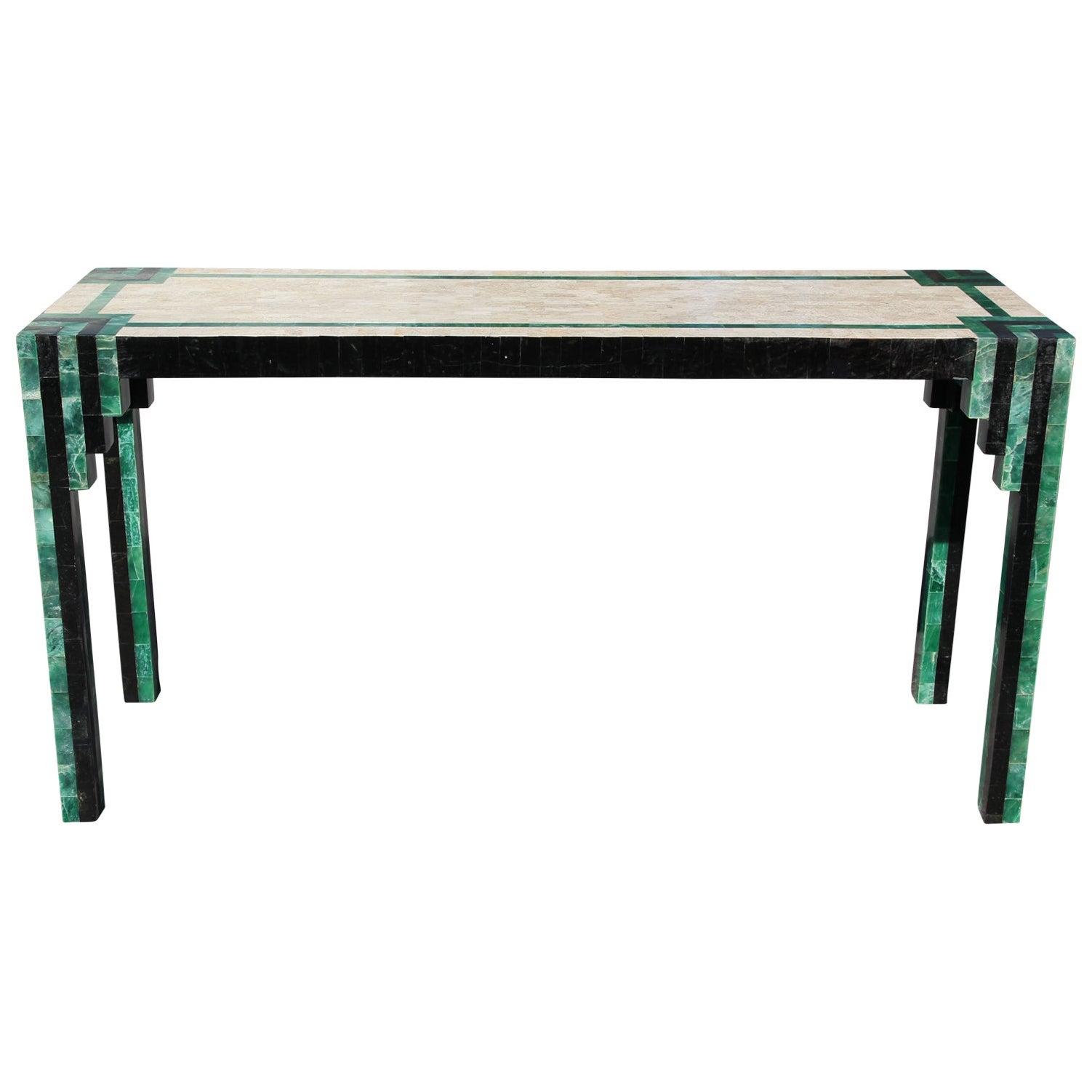 Geometric Deco Modern Tessellated Green / Black Console Table Karl Springer