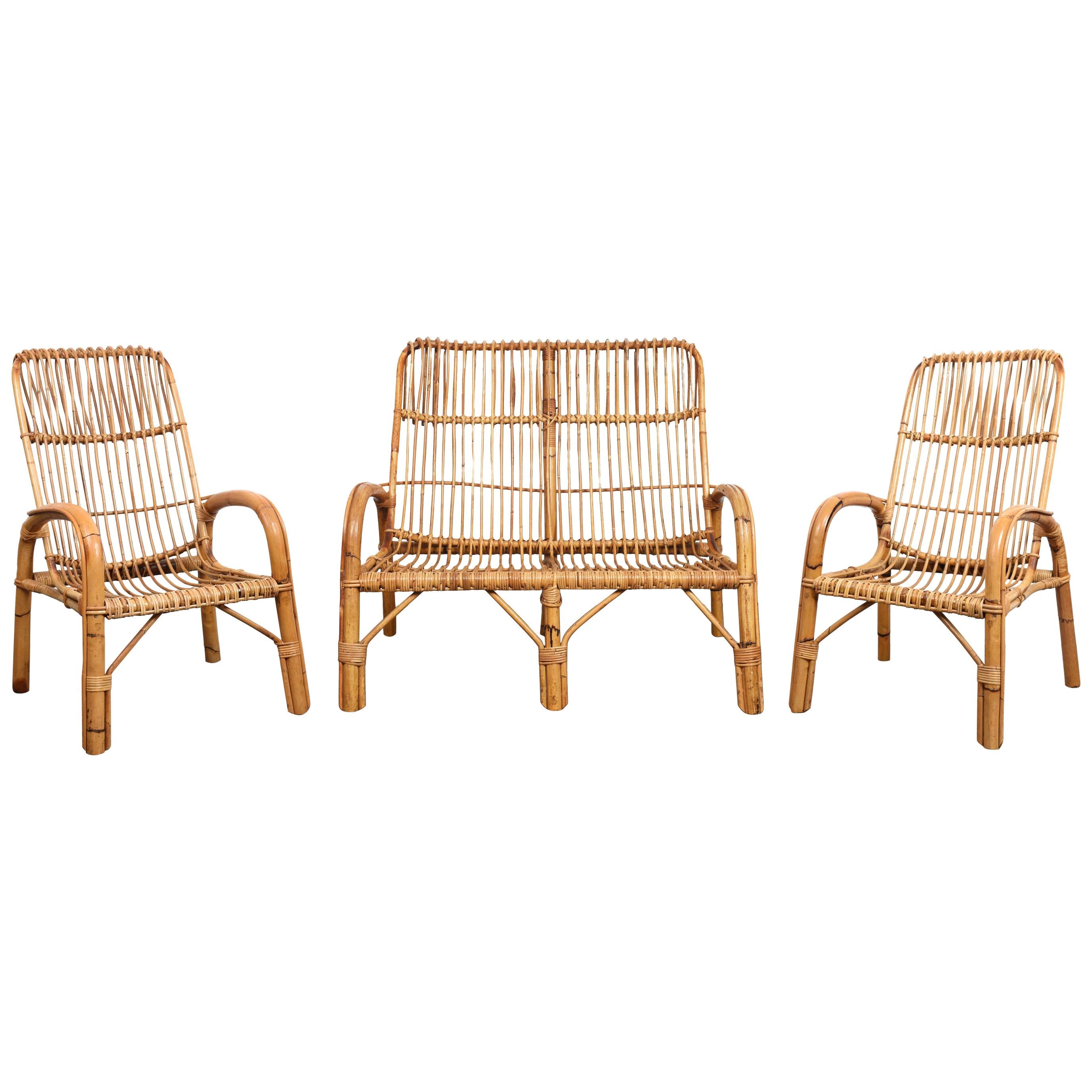 Midcentury French Riviera Italian Three Elements Bamboo and Rattan Set, 1960s