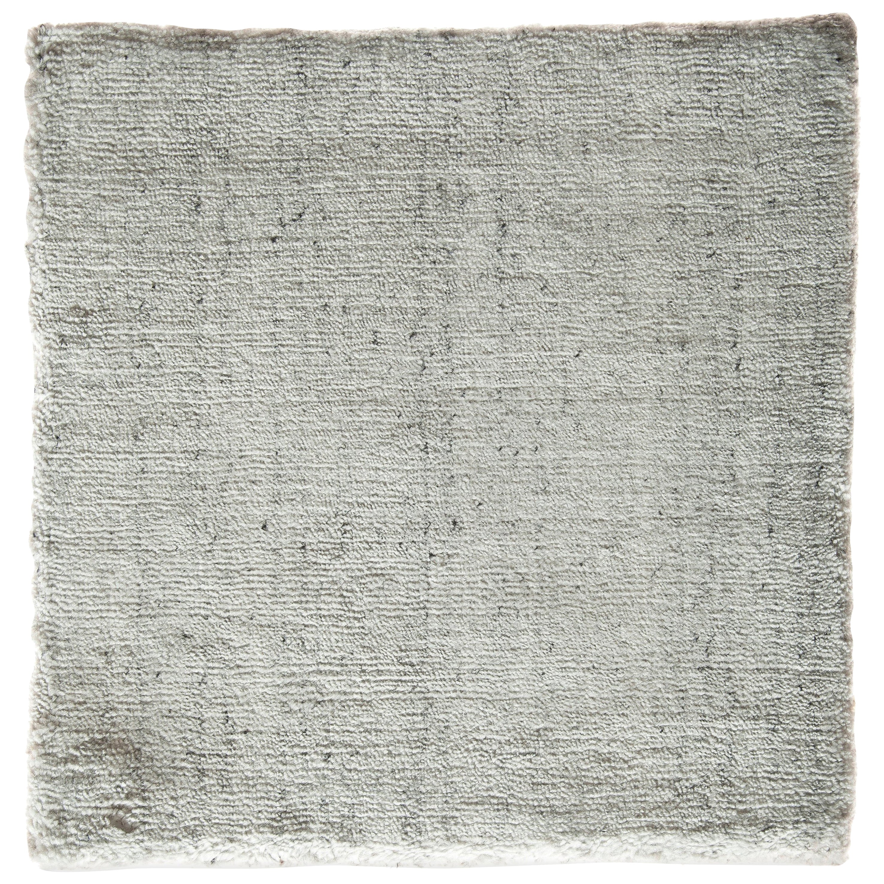 White, Silver, and Slate Spotted Bamboo Silk Hand-Loomed Contemporary Square Rug