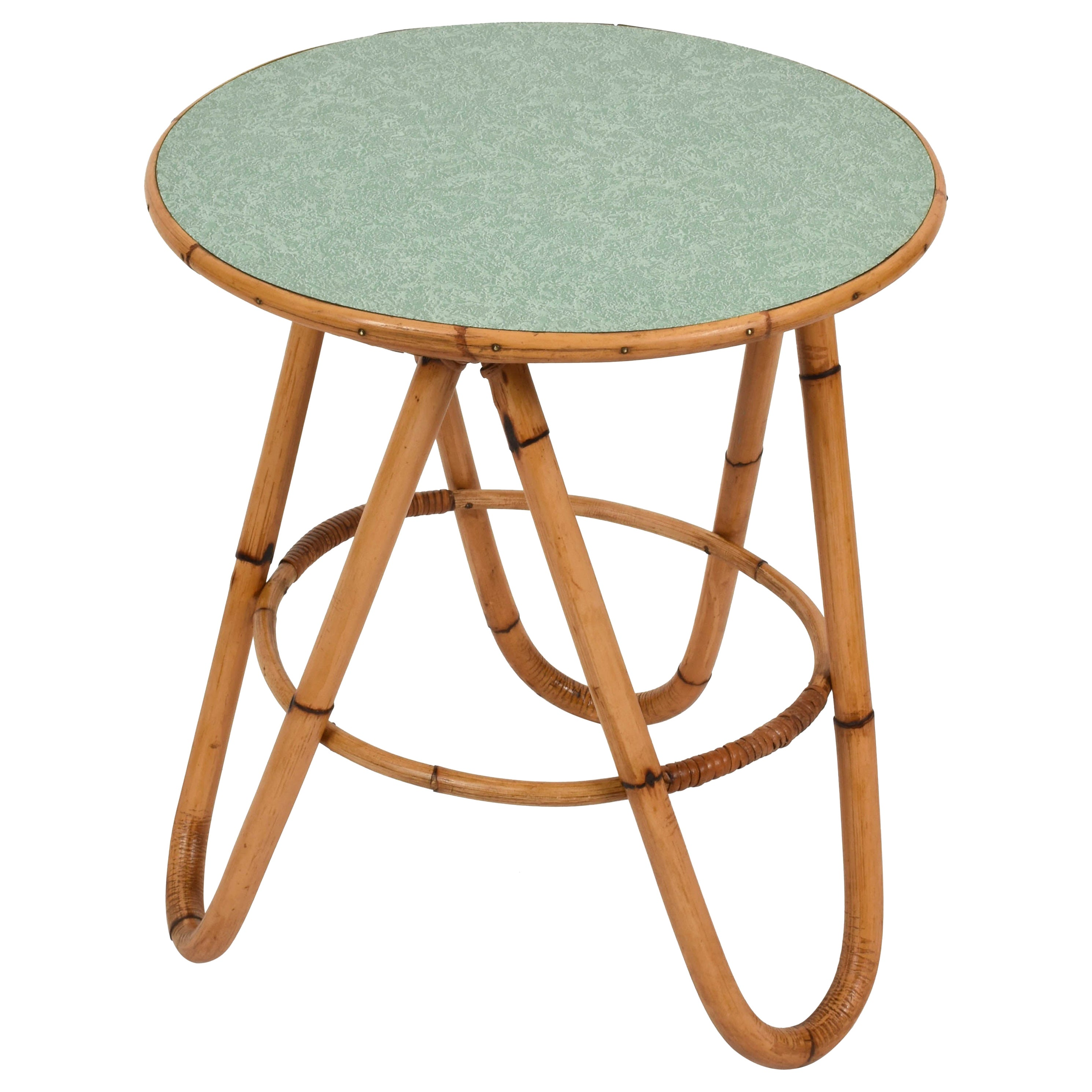 Midcentury Bamboo and Green Formica Round Side Italian Coffee Table, 1960s