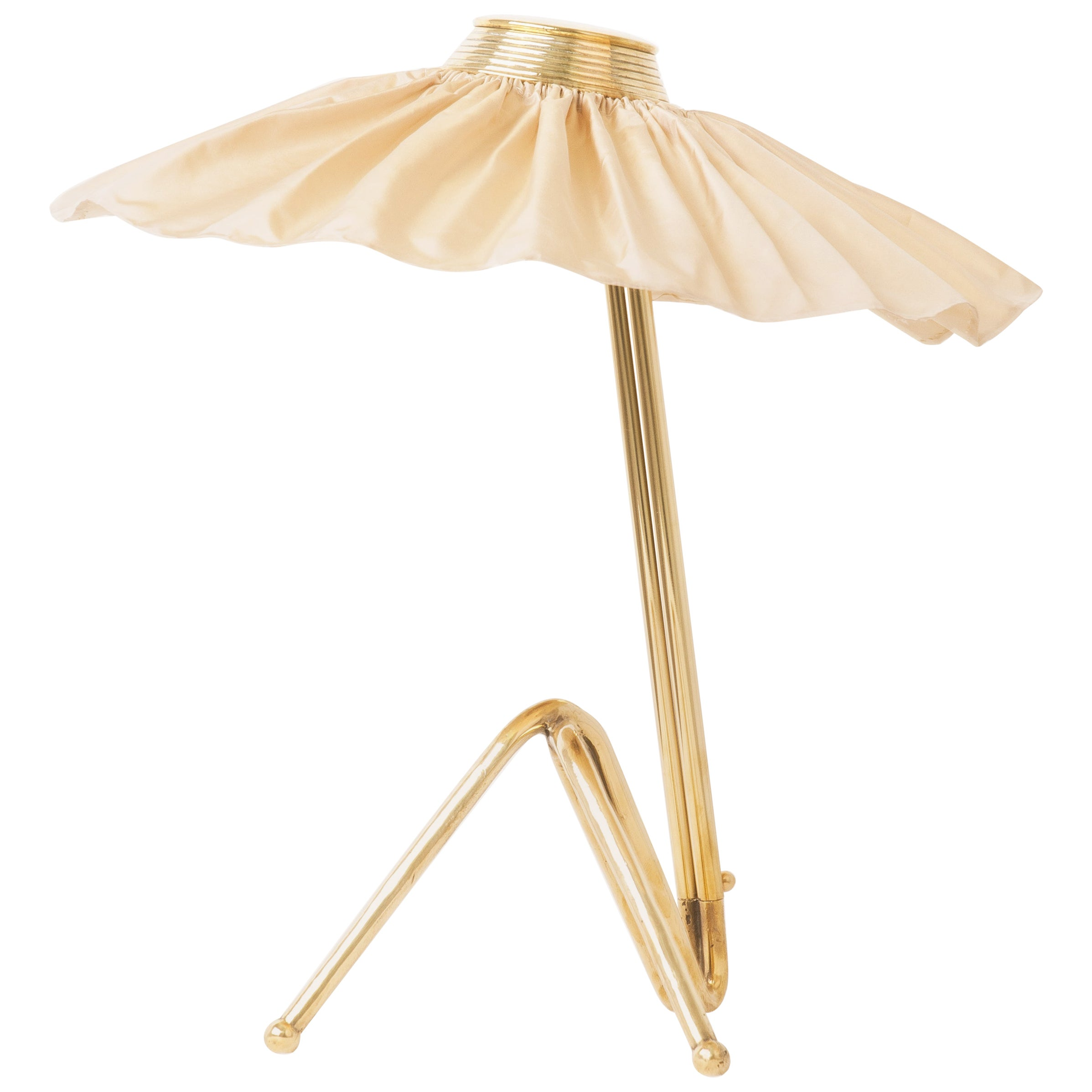 """""""Freevolle"""" Sculpture Table Lamp, Brass, Champagne Silk Skirt"""