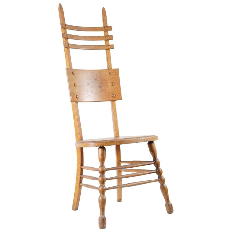 Interesting Austrian Turn of the Century Ladderback Chair For Sale