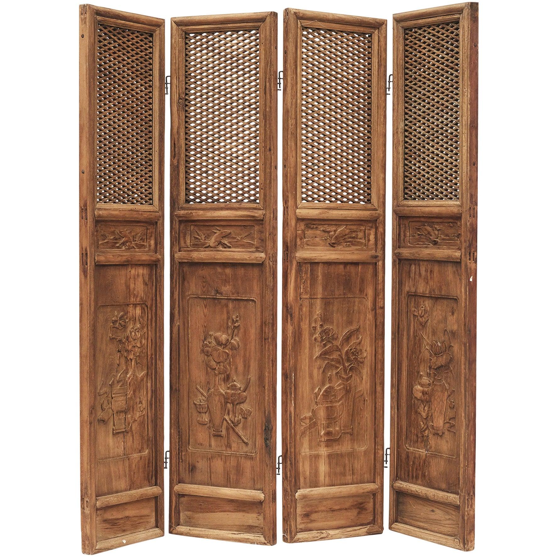 Set of Four Chinese Lattice Panels