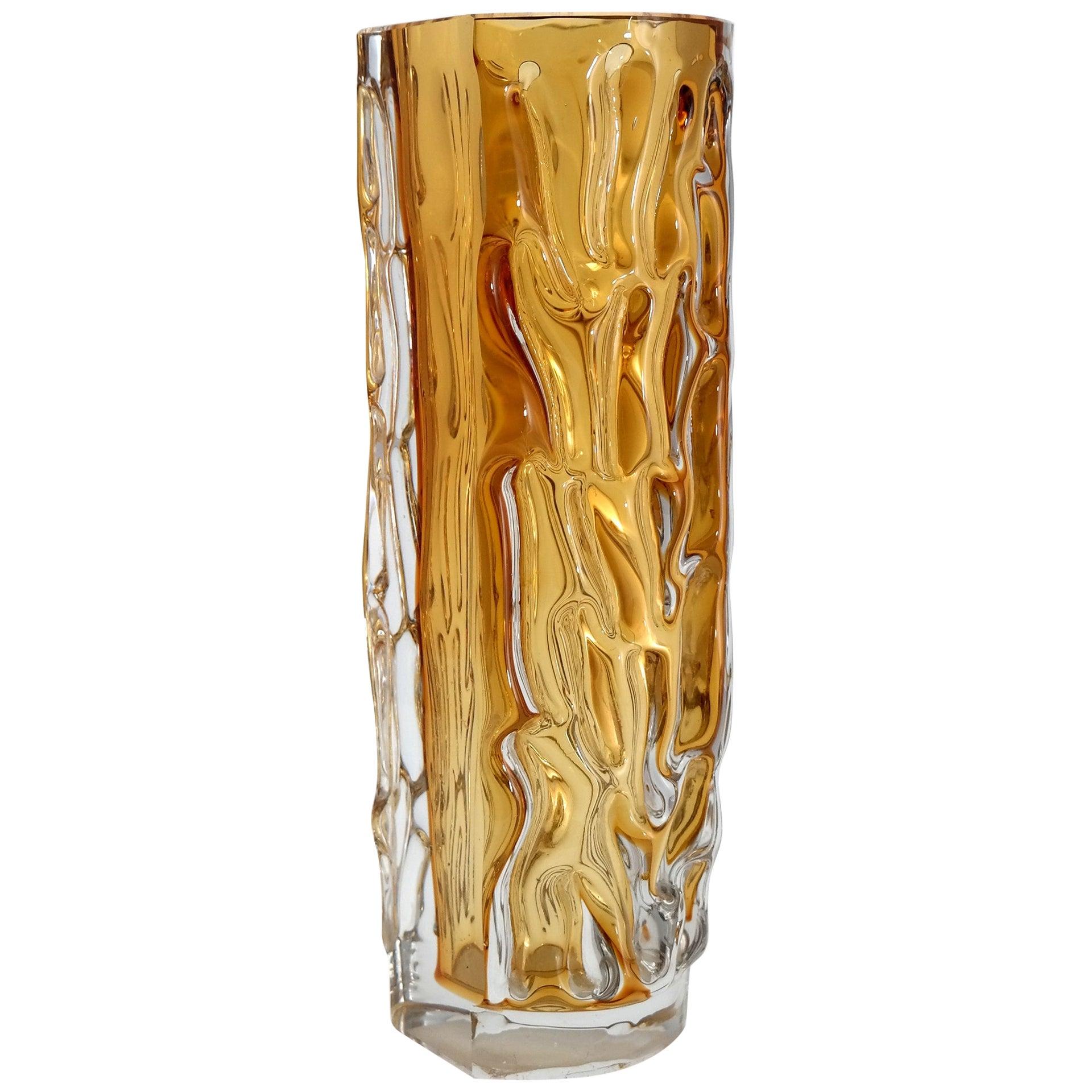 Heavy, Handmade Murano Style Glass Vase, 1970s