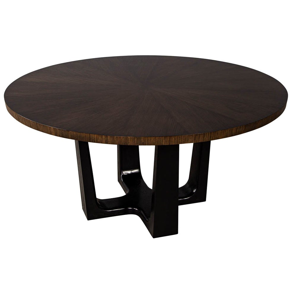 Round Modern Walnut Dining Table with Sunburst Top by Carrocel