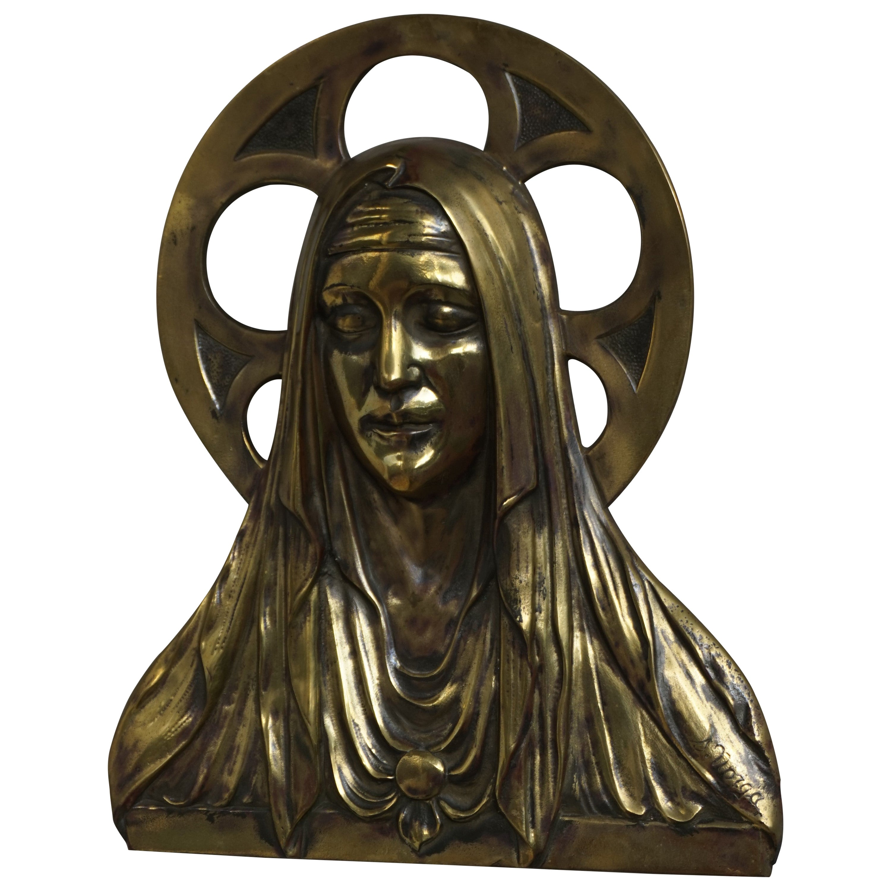 Bronze Gothic Wall Plaque by S. Norga Depicting Mother Mary in Cinquefoil Halo