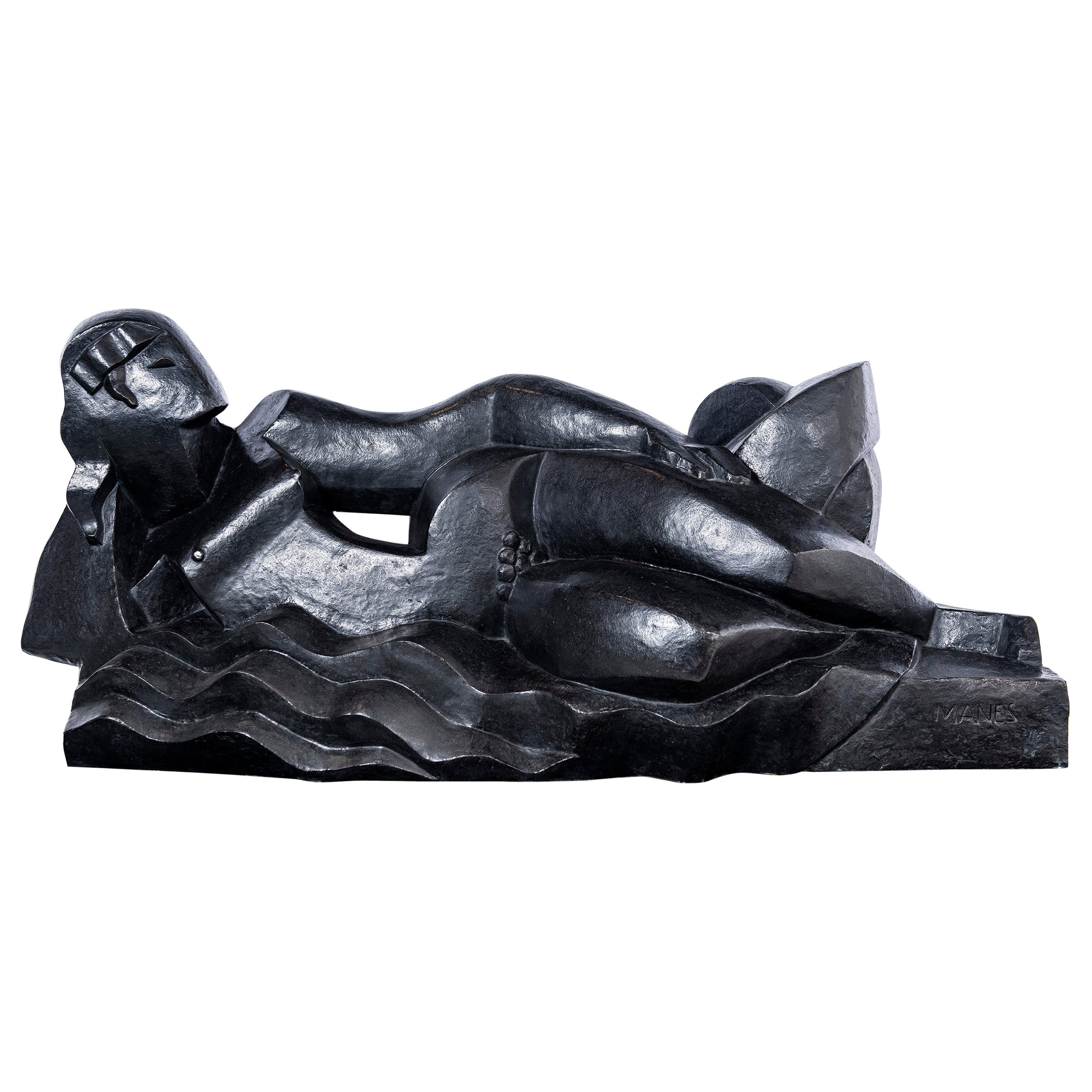 "Pablo Curatella Manes Cast Bronze Sculpture, ""Ninfa recostada"", Paris, 1924"