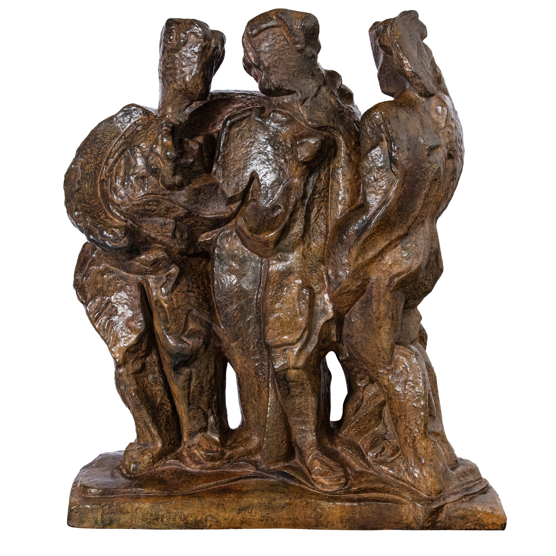 "Pablo Curatella Manes Cast Bronze Sculpture, ""Las tres gracias"", Paris, 1930"