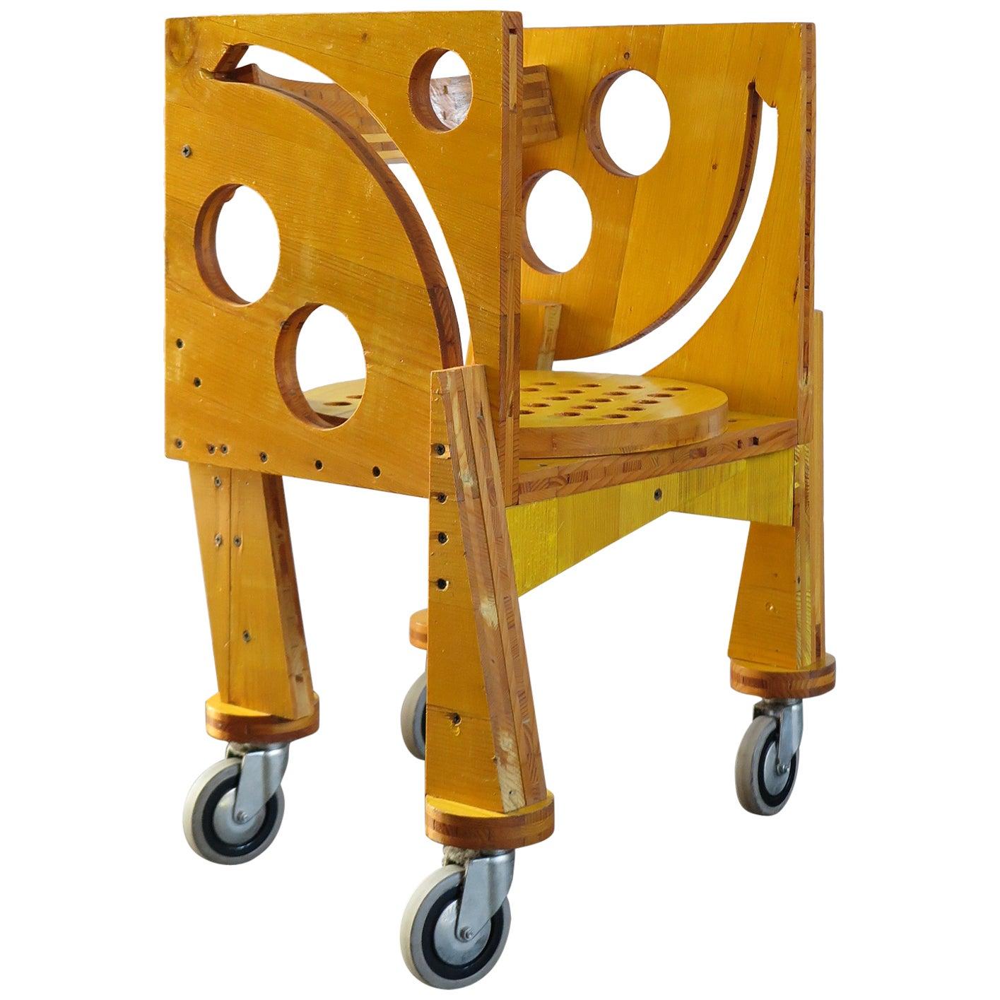 Cesare Leonardi Italian Wood Prototype Chair, 1990s