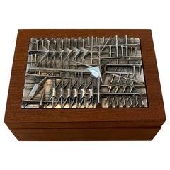 Arnaldo Pomodoro Italian Silver Plated Bronze Sculptural Top and Teak Box