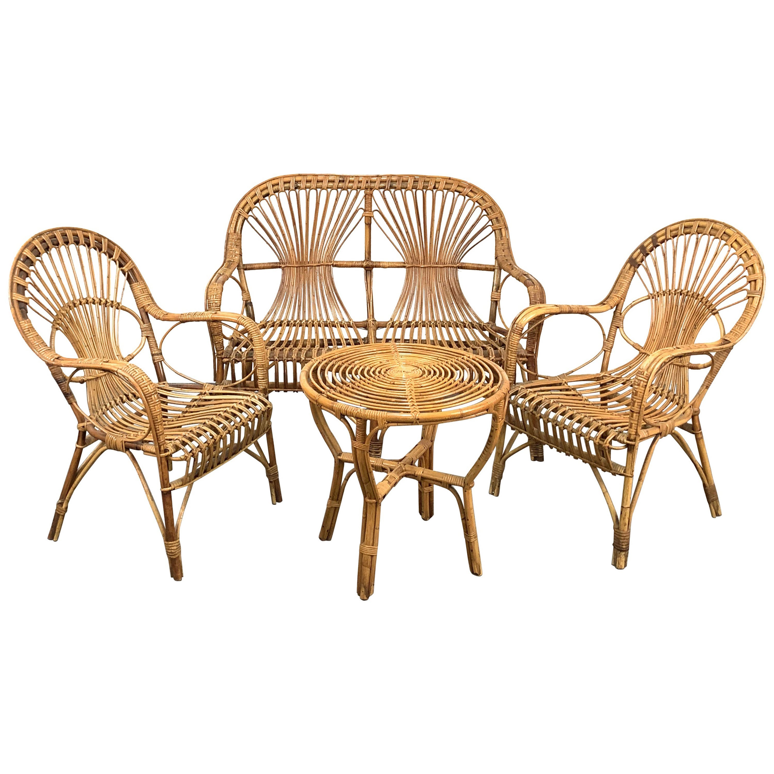 Midcentury Rattan and Bamboo Sofa, Armchairs and Italian Coffee Table, 1960s