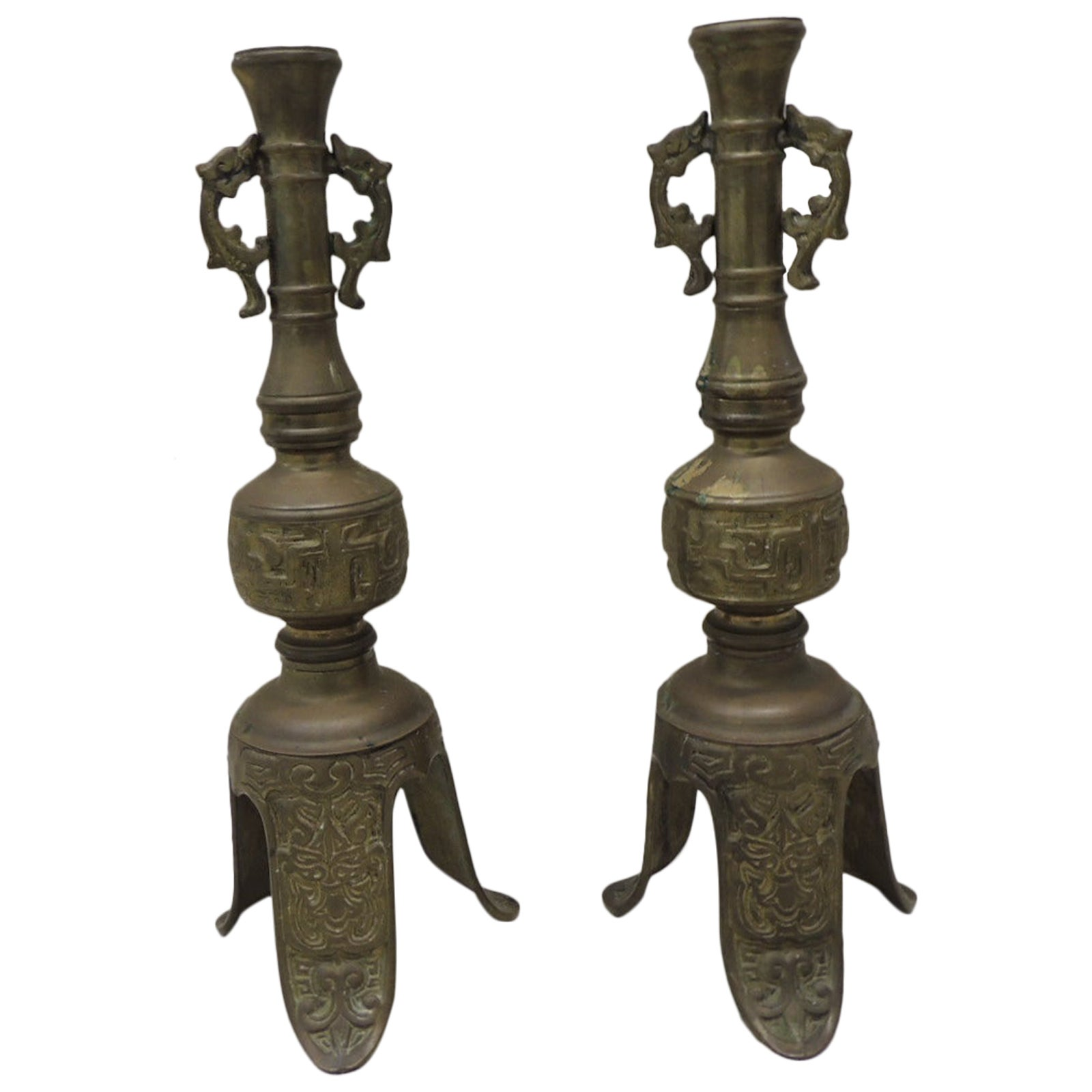 Pair of Vintage Brass Asian Candlesticks