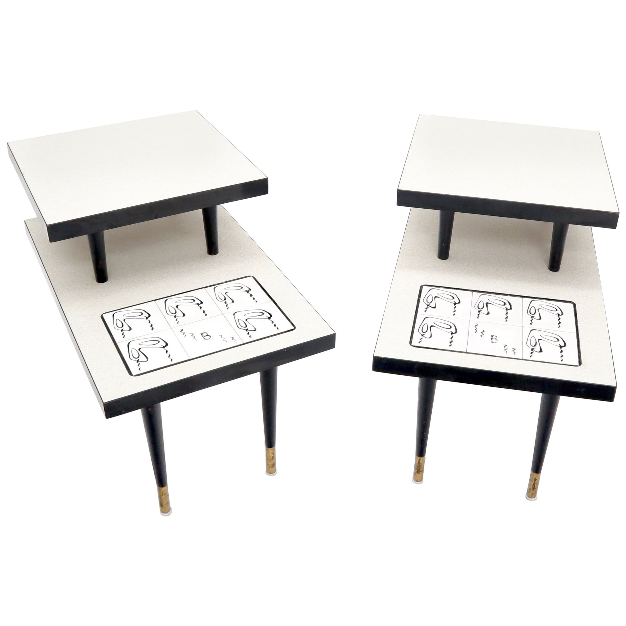 Pair of Tile Top Step End Side Table on Tapered Dowel Shape Leg