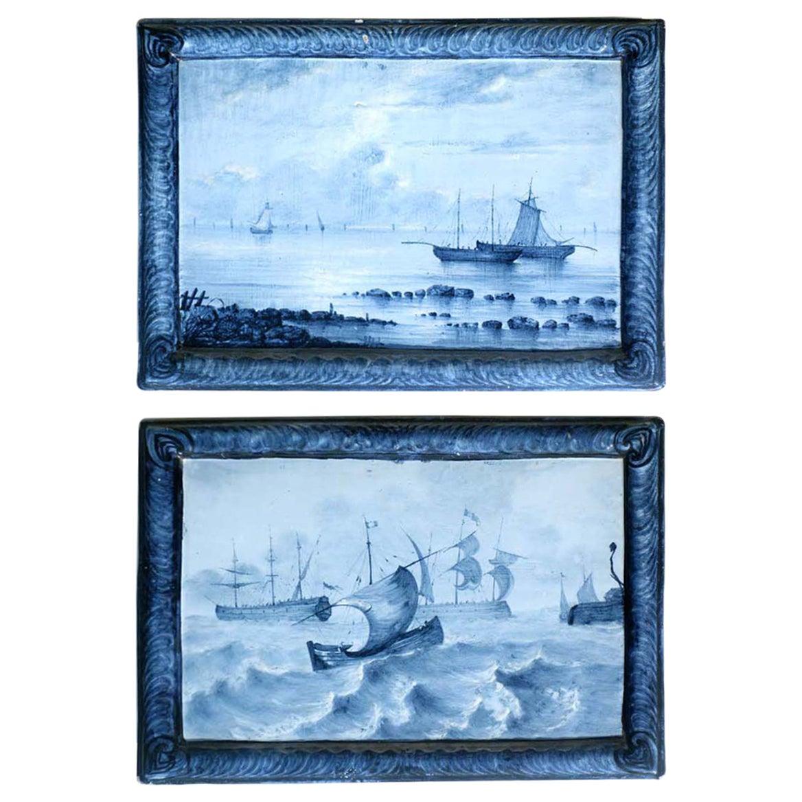 Emile Gallé Blue Faience 1880-1890 Marine Landscape Ceramic Tiles, Set of 2
