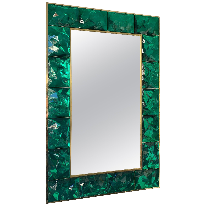 Contemporary Brass Mirror Murano Glass, Italy
