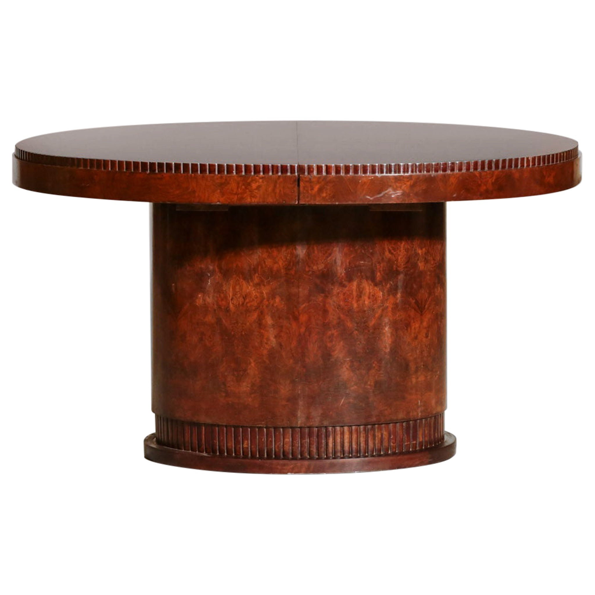 French Art Deco Dining Oval Table, Vintage 1930s Modernist Burl Wood