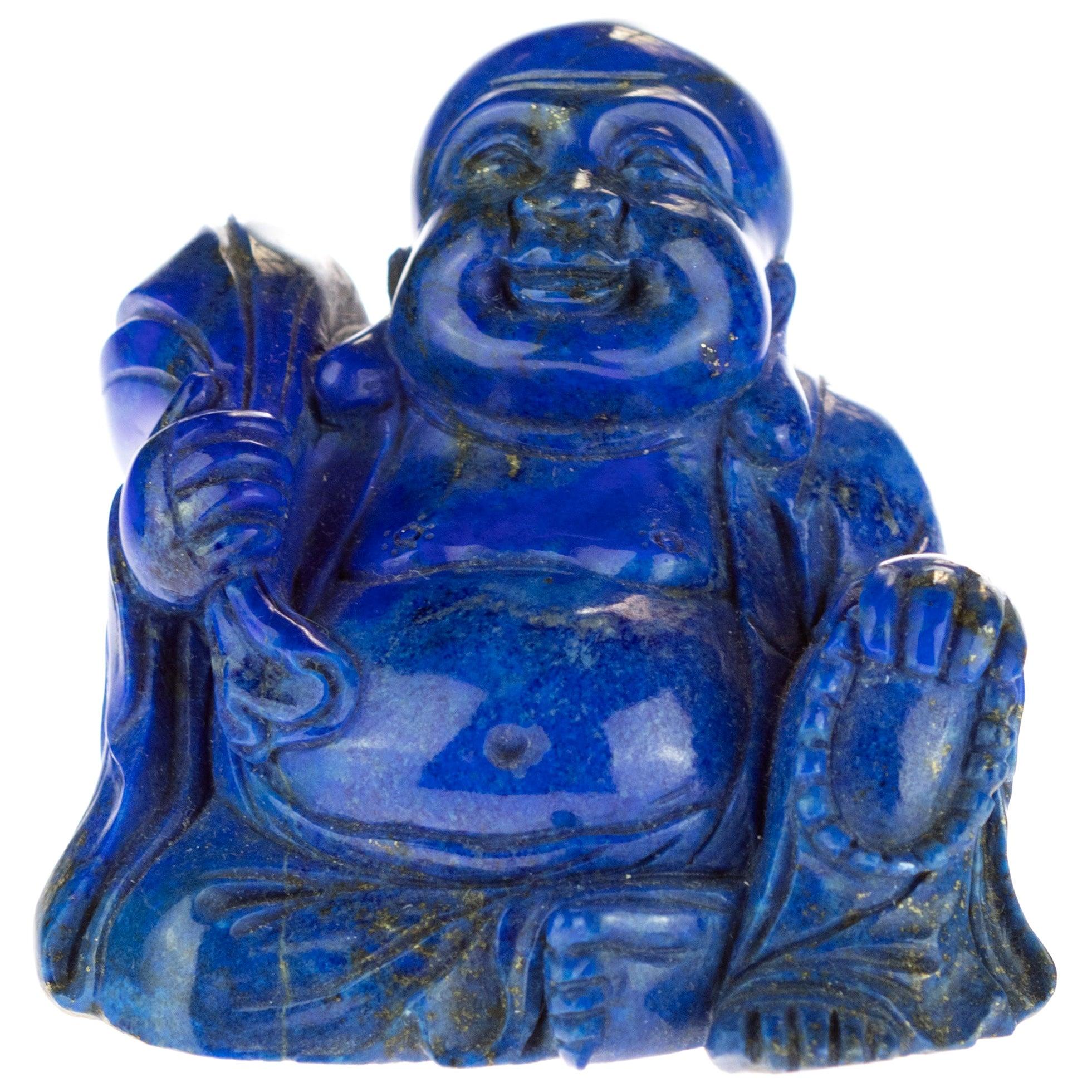 Lapis Lazuli Meditation Buddha Carved Gemstone Asian Art Statue Sculpture