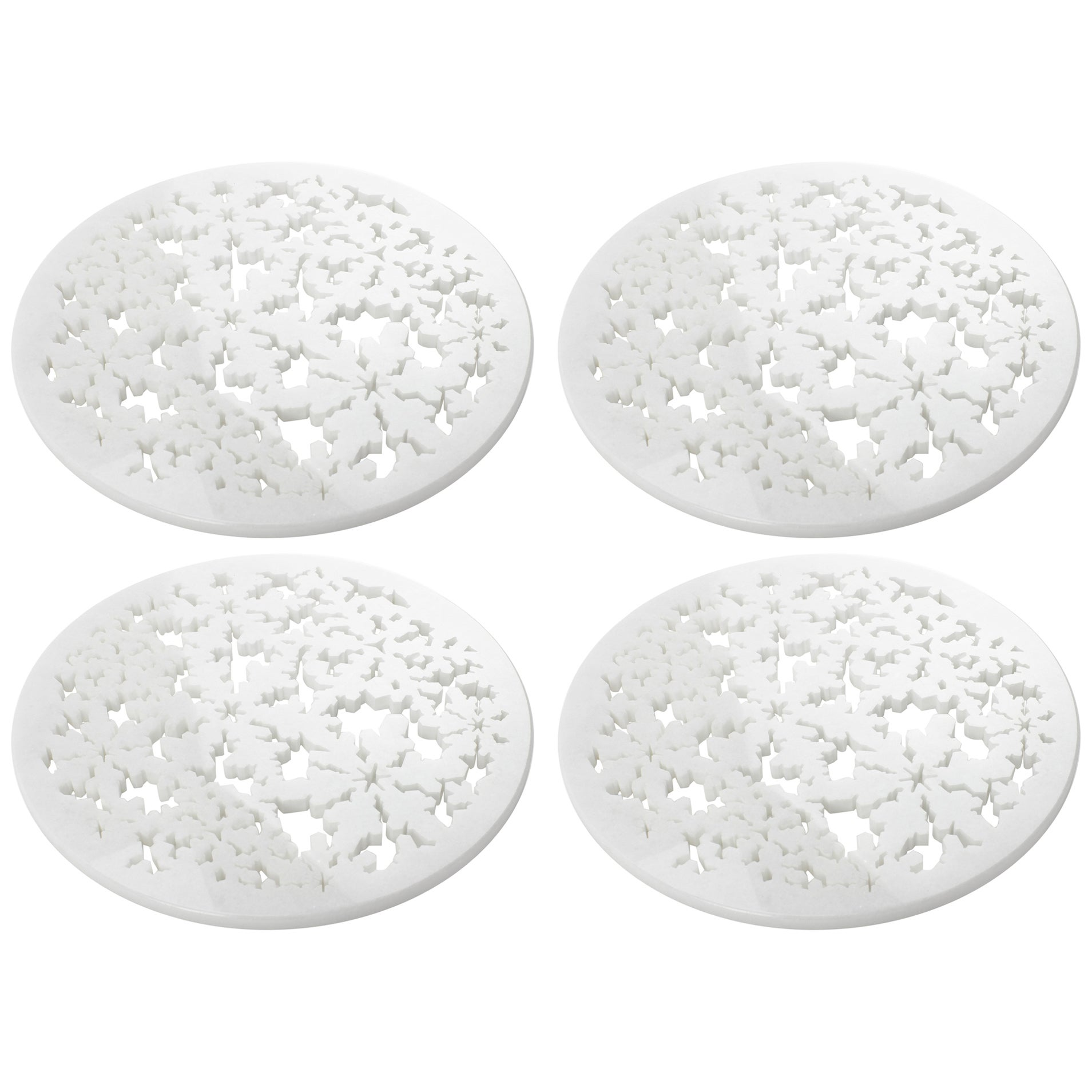 Set of 4 Charger Plate in Absolute Crystalline White Marble Christmas Decoration