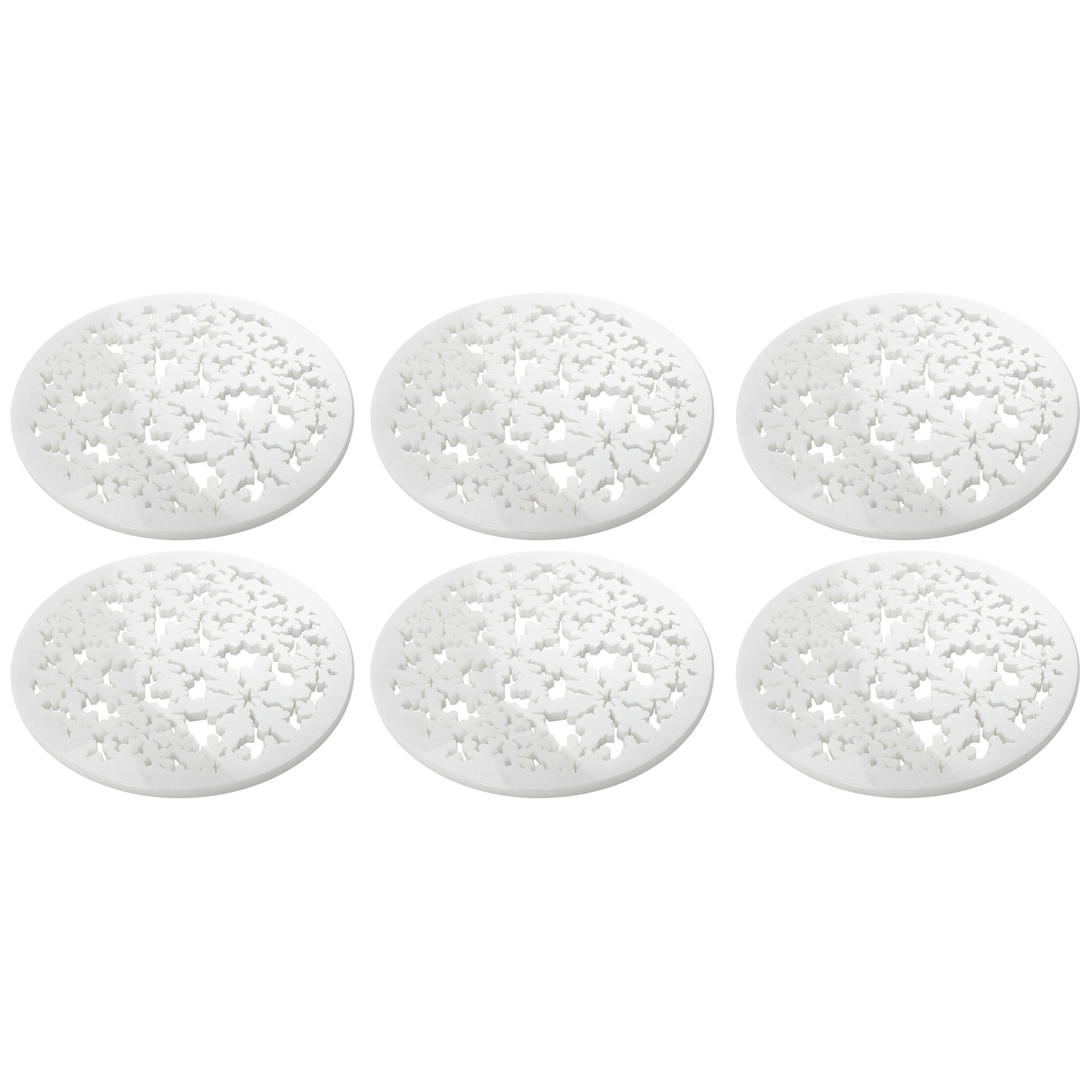 Set of 6 Charger Plate in Absolute Crystalline White Marble Christmas Decoration
