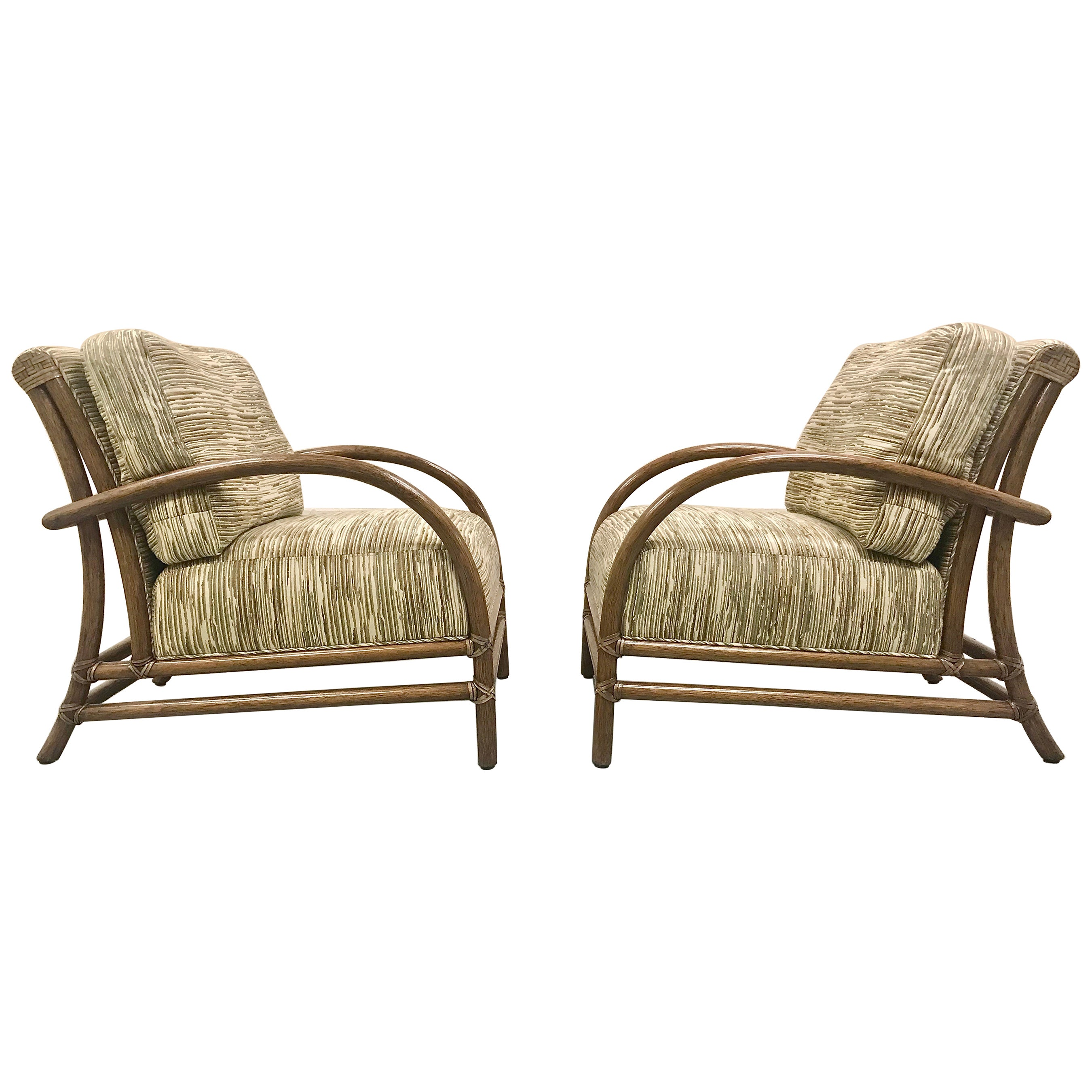 McGuire Pair of Toscana Rattan Lounge Chairs