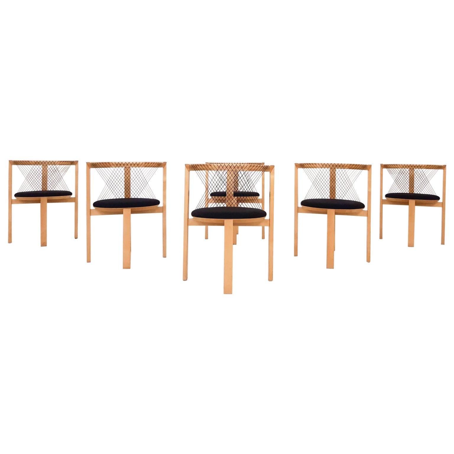 "Set of 6 Niels Jorgen Haugesen for Tranekaer ""String"" Chairs, Denmark, 1995"