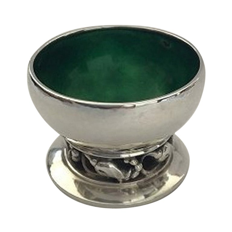 Georg Jensen Blossom Sterling Silver Salt Cellar No 2A 'Green'