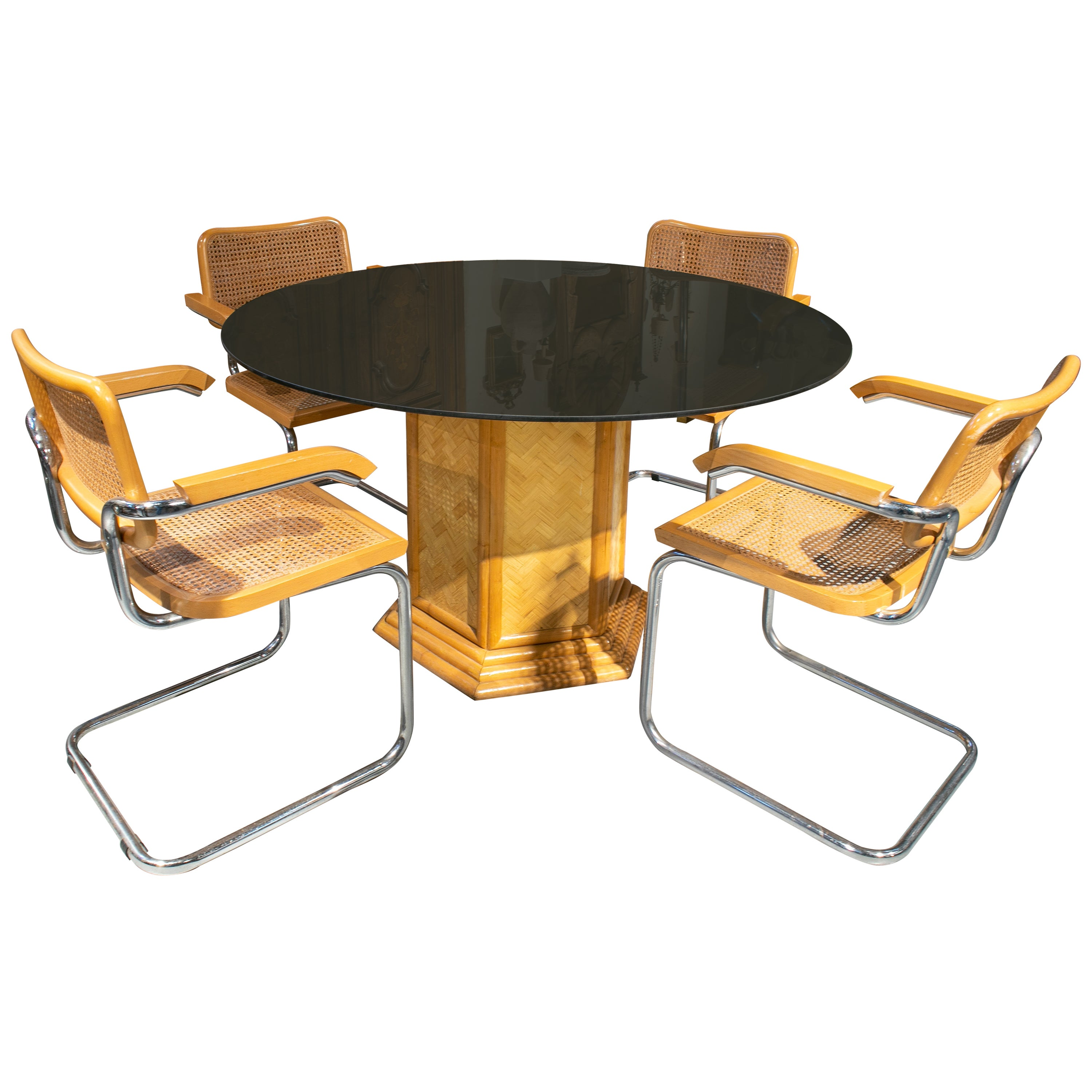 1970s Set of Italian Bamboo and Crystal Table with Four Cesca Chairs