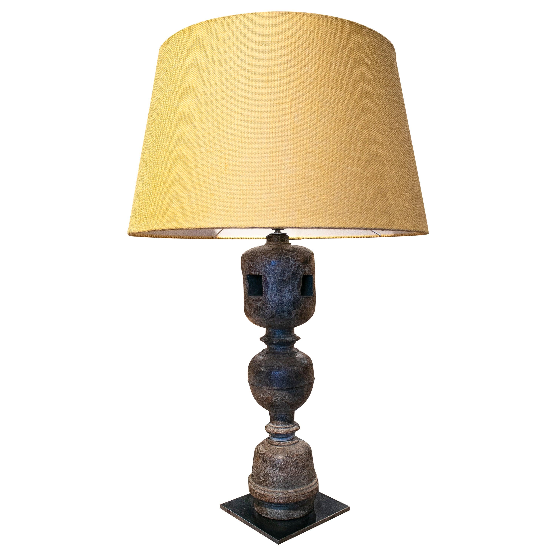 1980s European Wooden Bed Leg Table Lamp